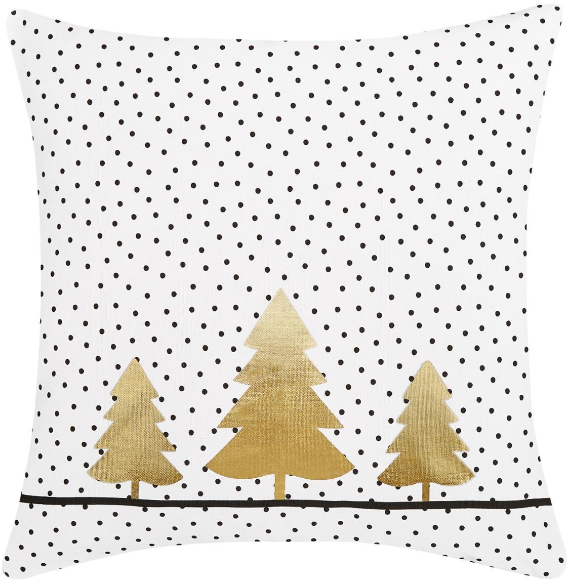 Gepunktete Kissenhülle Yule mit goldenen Tannenbäumen, Baumwolle, Weiß, Schwarz, Gold, 40 x 40 cm