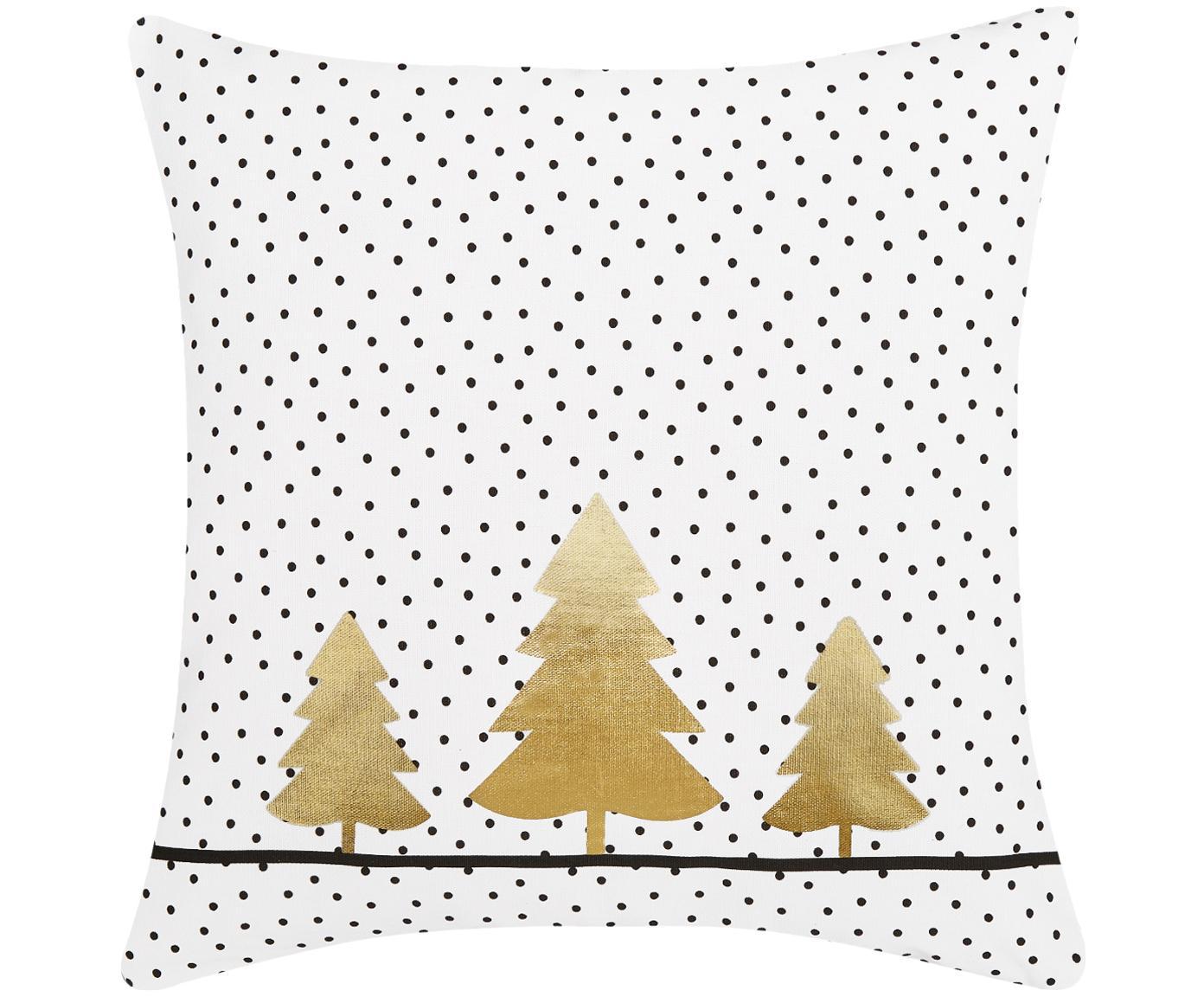 Gepunktete Kissenhülle Yule mit goldenen Tannenbäumen, Baumwolle, Weiss, Schwarz, Gold, 40 x 40 cm