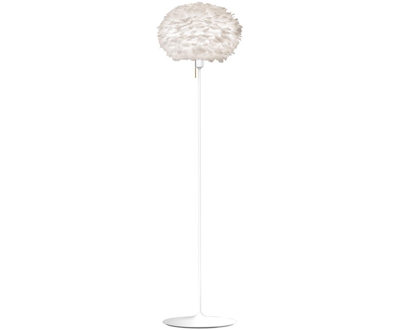 Stehlampe Eos aus Federn, Lampenschirm: Gänsefedern, Stahl, Sockel: Stahl, lackiert, Weiss, Ø 45 x H 170 cm