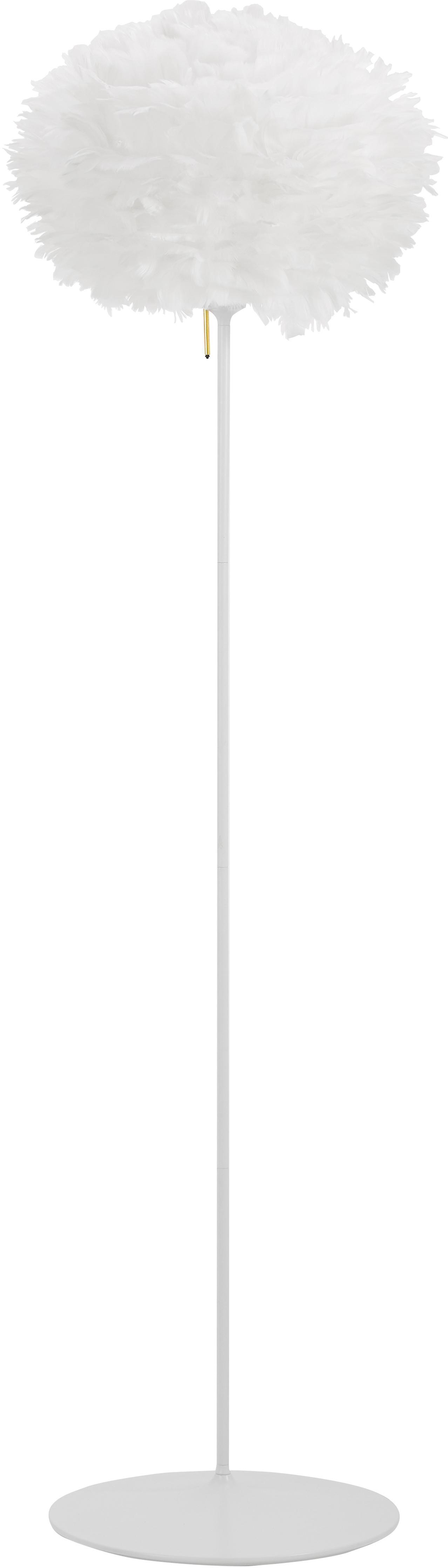 Vloerlamp Eos van veren, Lampenkap: ganzenveren, staal, Lampvoet: gelakt aluminium, Voetstuk: gelakt staal, Wit, Ø 45 x H 170 cm