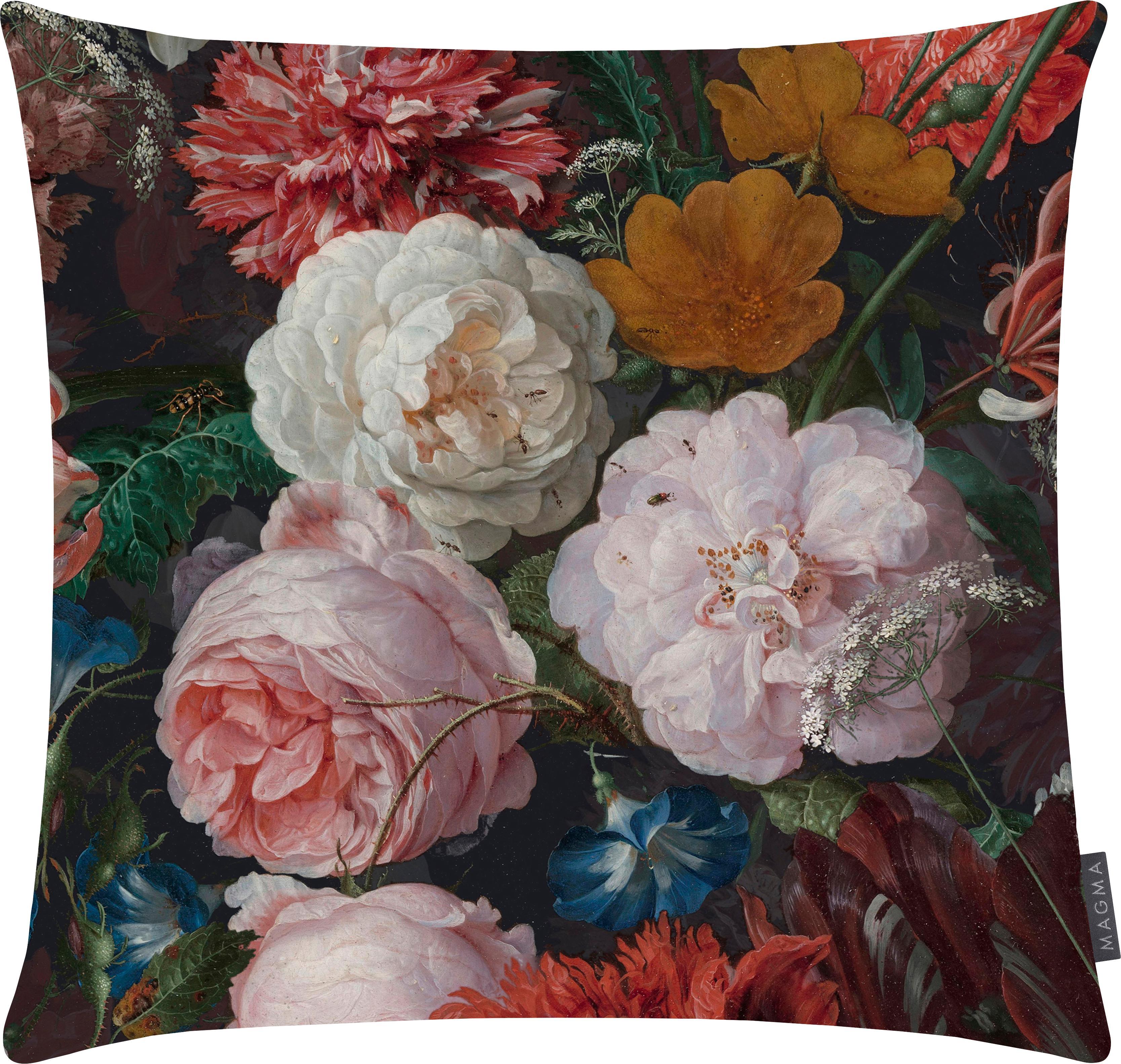 Fluwelen kussenhoes Fiore met donkere bloemmotief, 100% polyester fluweel, bedrukt, Antraciet, roze, rood, geel, groen, blauw, 40 x 40 cm
