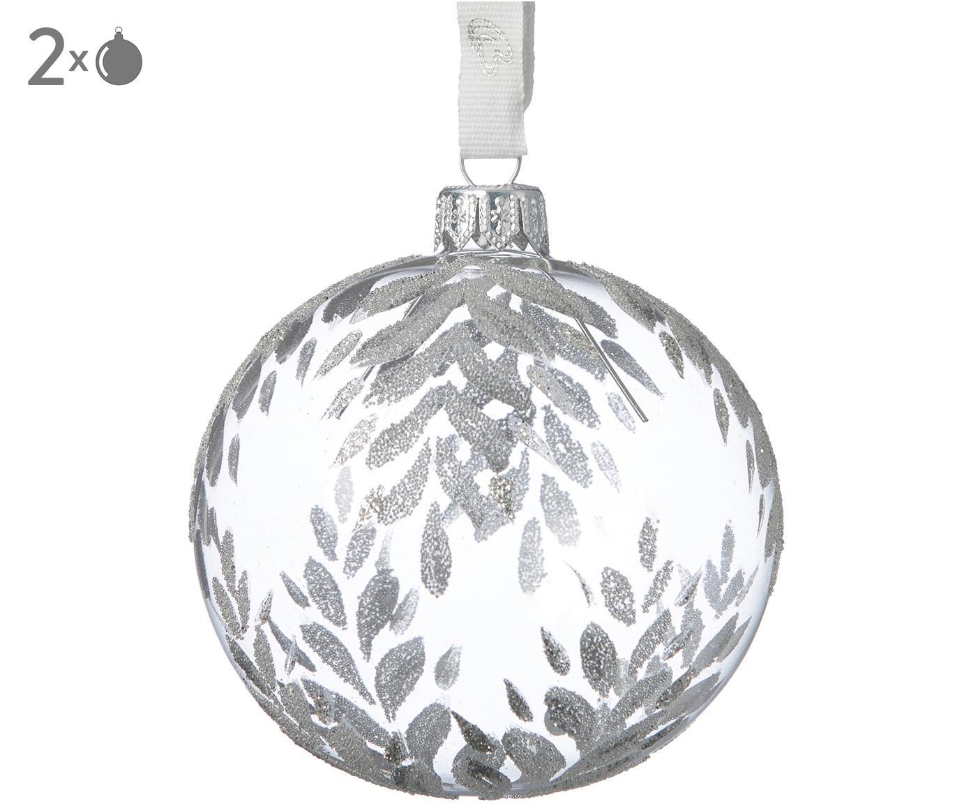 Kerstballen Cadelia, 2 stuks, Transparant, zilverkleurig, Ø 8 x H 8 cm