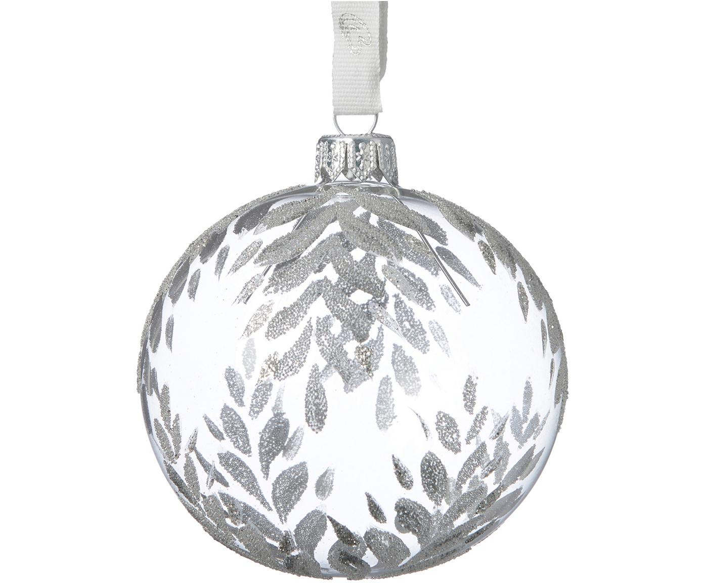 Palline di Natale Cadelia Ø 8 cm, 2 pz, Trasparente, argentato, Ø 8 cm