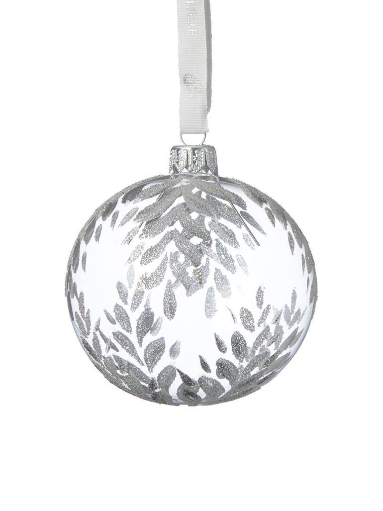 Bolas de Navidad Cadelia, Ø 8 cm, 2uds., Transparente, plateado, Ø 8 cm