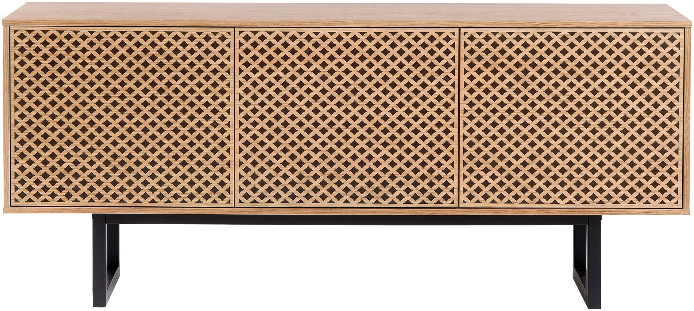 Sideboard Camden mit Eichenholzfurnier, Korpus: Mitteldichte Holzfaserpla, Füße: Birkenholz, lackiert, Eichenholz, 175 x 75 cm