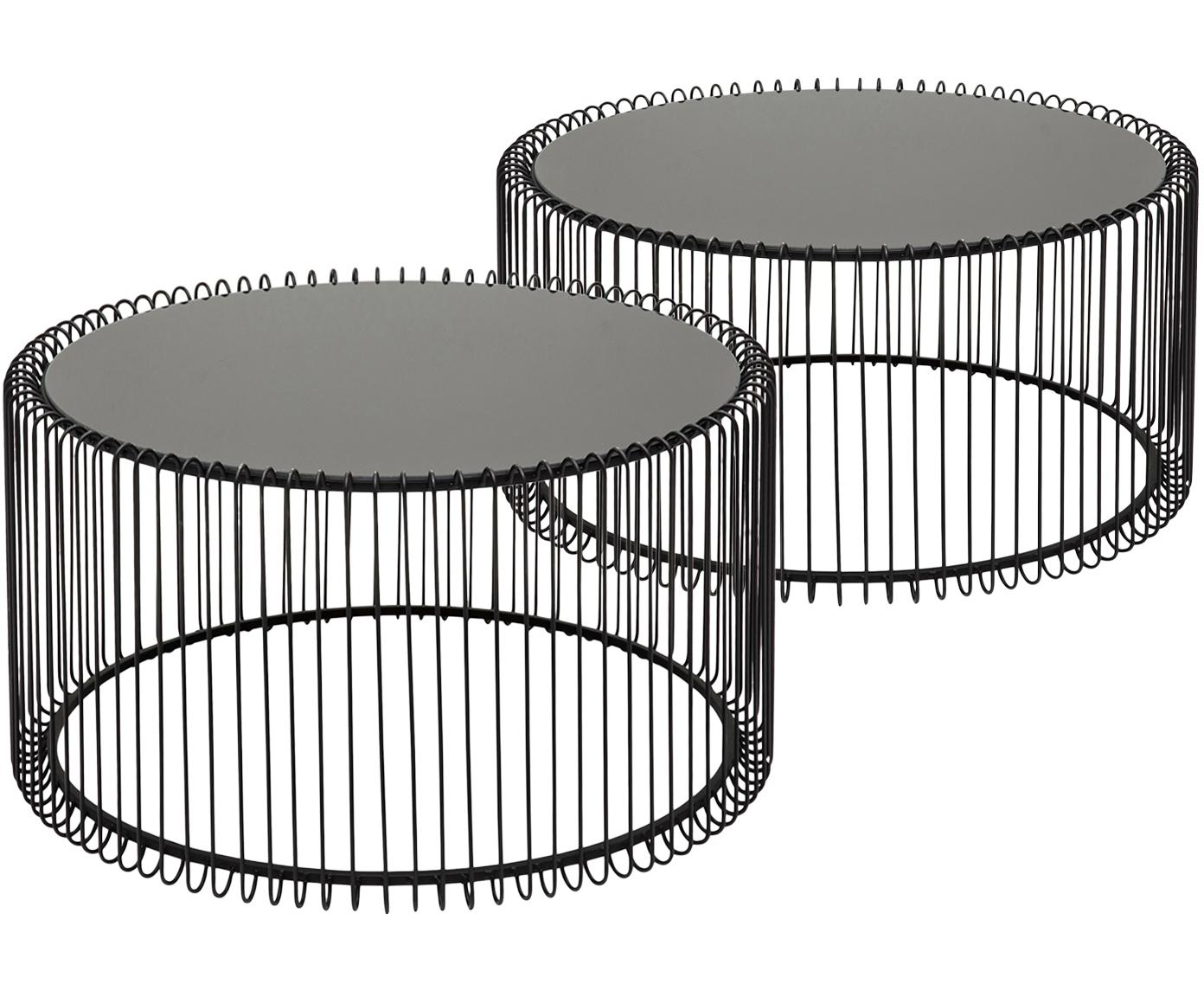 Metall-Couchtisch 2er-Set Wire mit Glasplatte, Gestell: Metall, pulverbeschichtet, Tischplatte: Sicherheitsglas, foliert, Schwarz, Sondergrößen