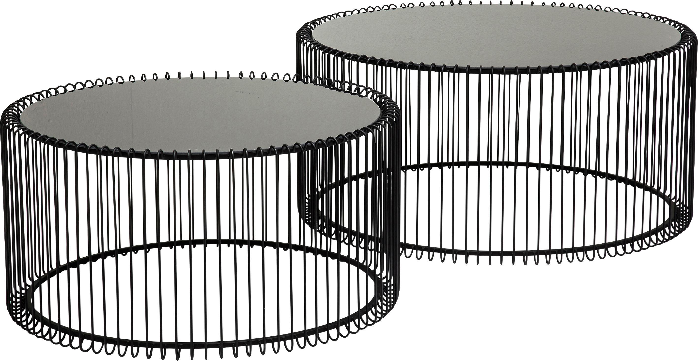Set 2 tavolini da salotto con piano in vetro Wire, Struttura: acciaio verniciato a polv, Piano d'appoggio: vetro temperato, Nero, Diverse dimensioni