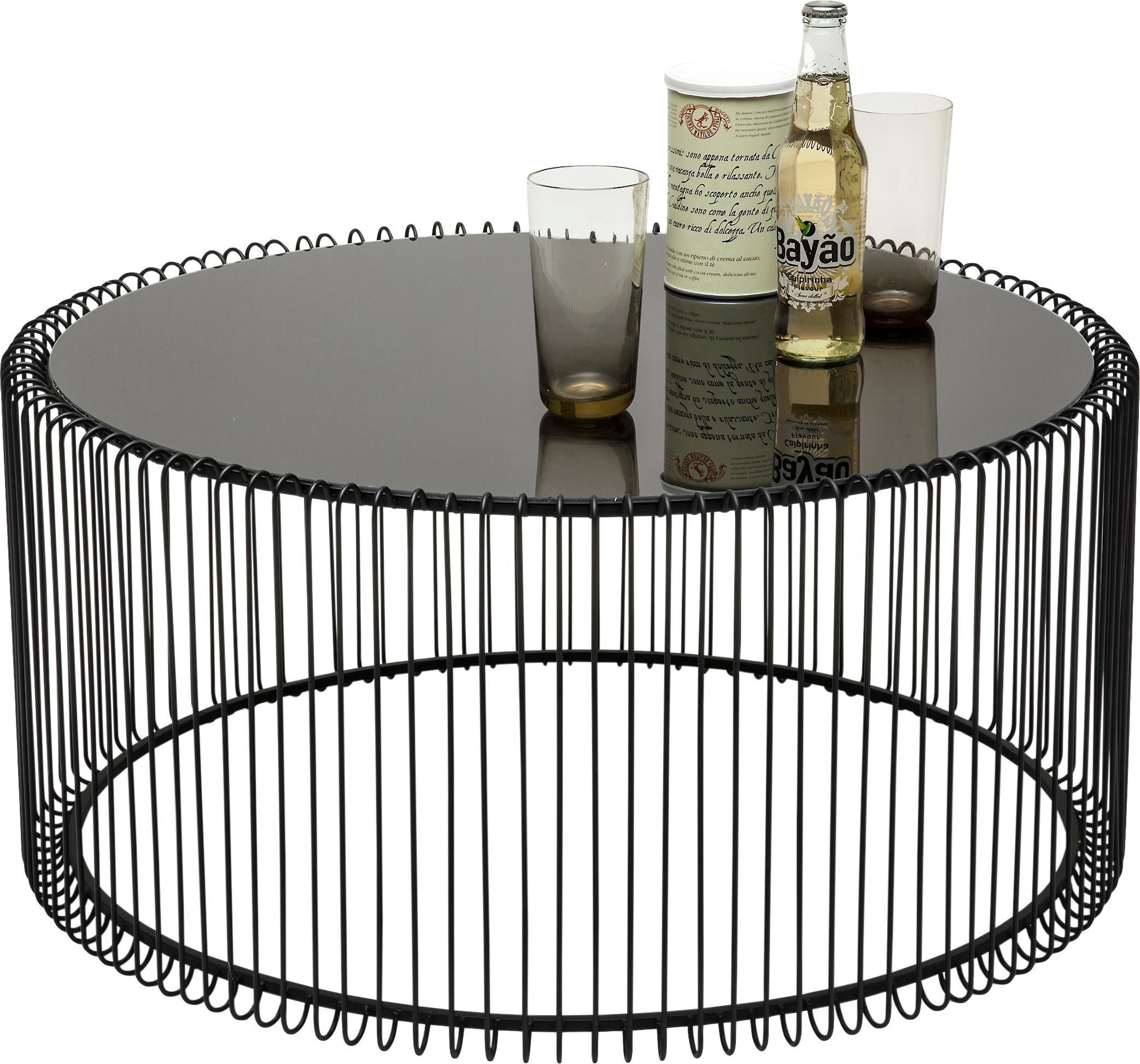 Metall-Couchtisch 2er-Set Wire mit Glasplatte, Gestell: Metall, pulverbeschichtet, Tischplatte: Sicherheitsglas, foliert, Schwarz, Set mit verschiedenen Grössen