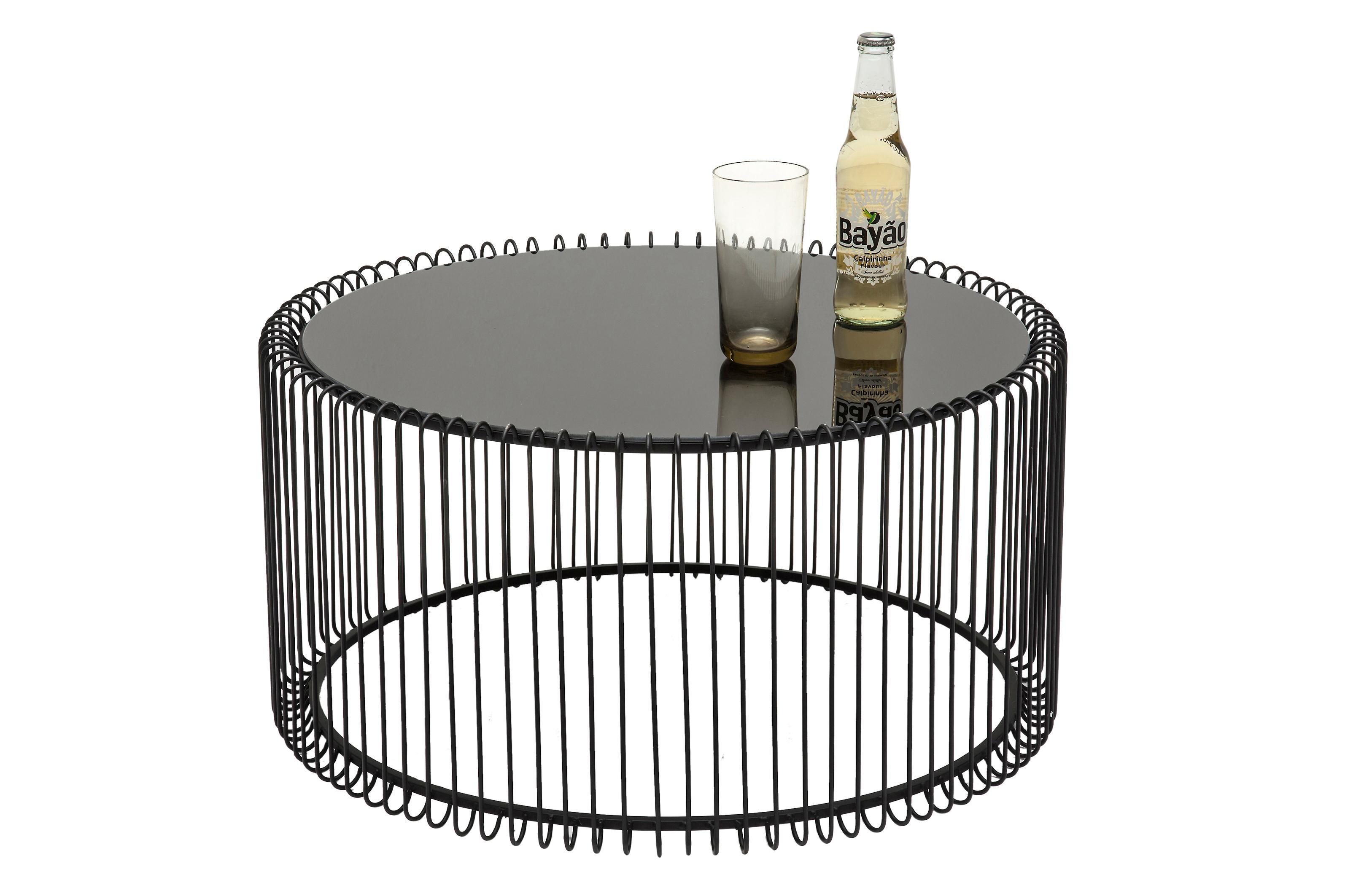 Table basse plateau en verreWire, 2élém., Noir