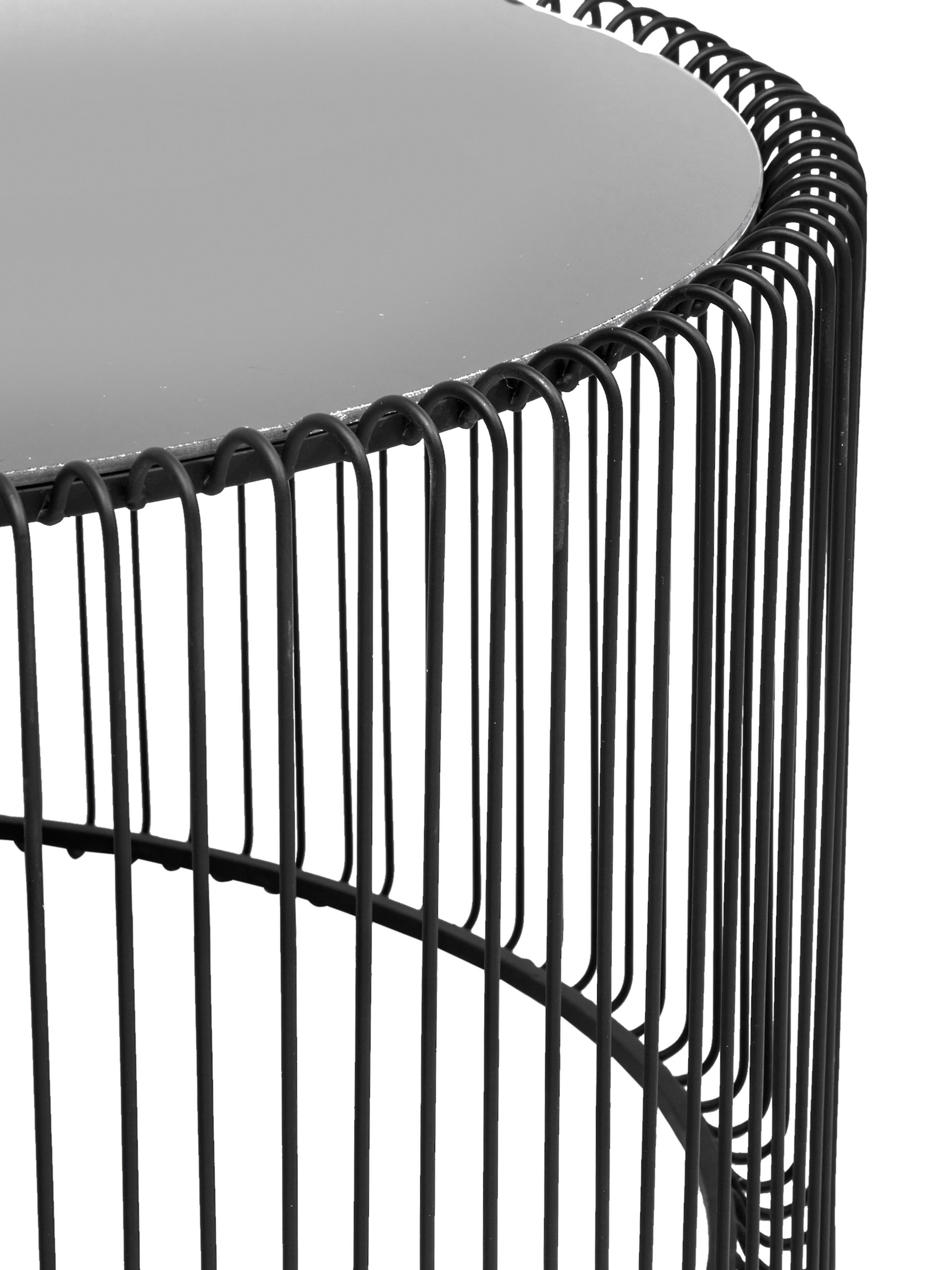 Komplet stolików kawowych z metalu ze szklanym blatem Wire, 2 elem., Stelaż: stal malowana proszkowo, Blat: szkło hartowane, Czarny, Różne rozmiary