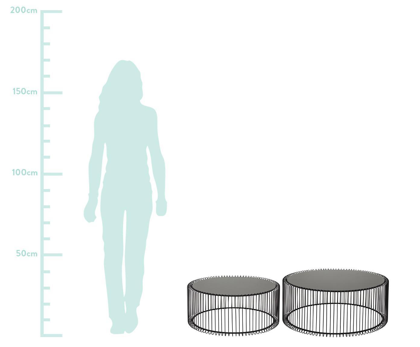 Metall-Couchtisch 2er-Set Wire mit Glasplatte, Gestell: Metall, pulverbeschichtet, Tischplatte: Sicherheitsglas, foliert, Schwarz, Sondergrößen