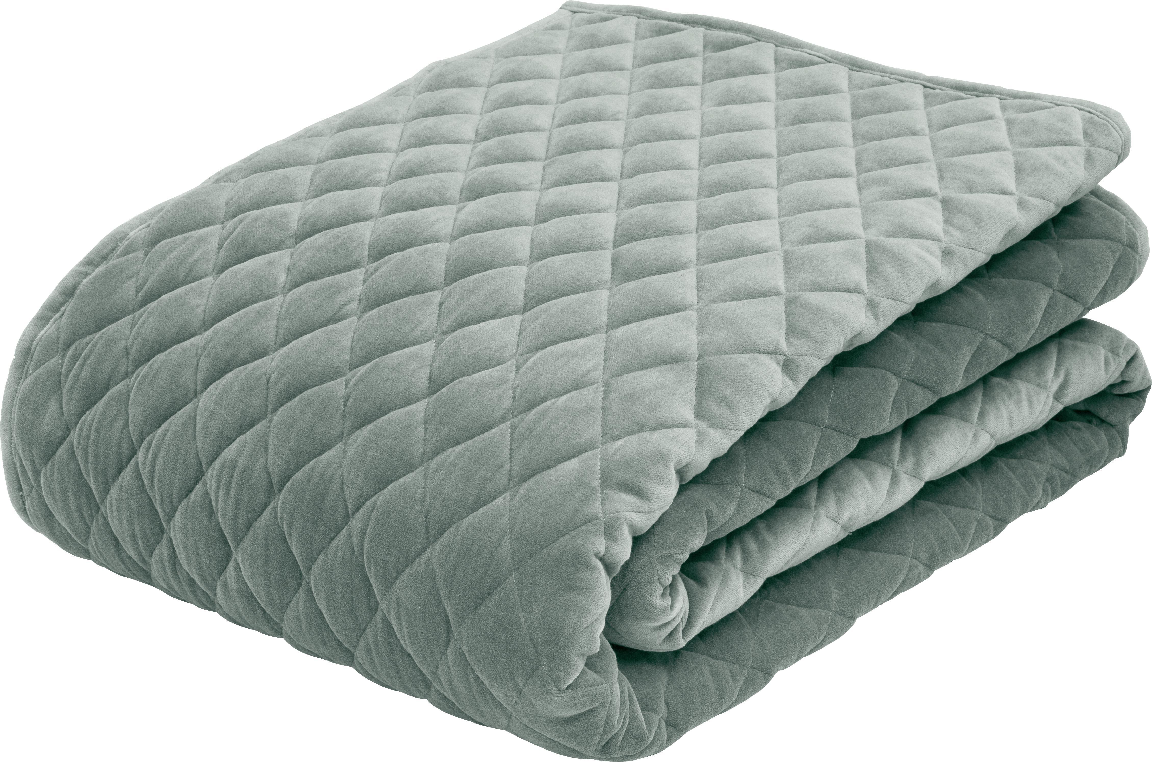 Wattierte Samt-Tagesdecke Cosima, Vorderseite: Baumwollsamt, Rückseite: Baumwolle, Salbeigrün, 160 x 220 cm