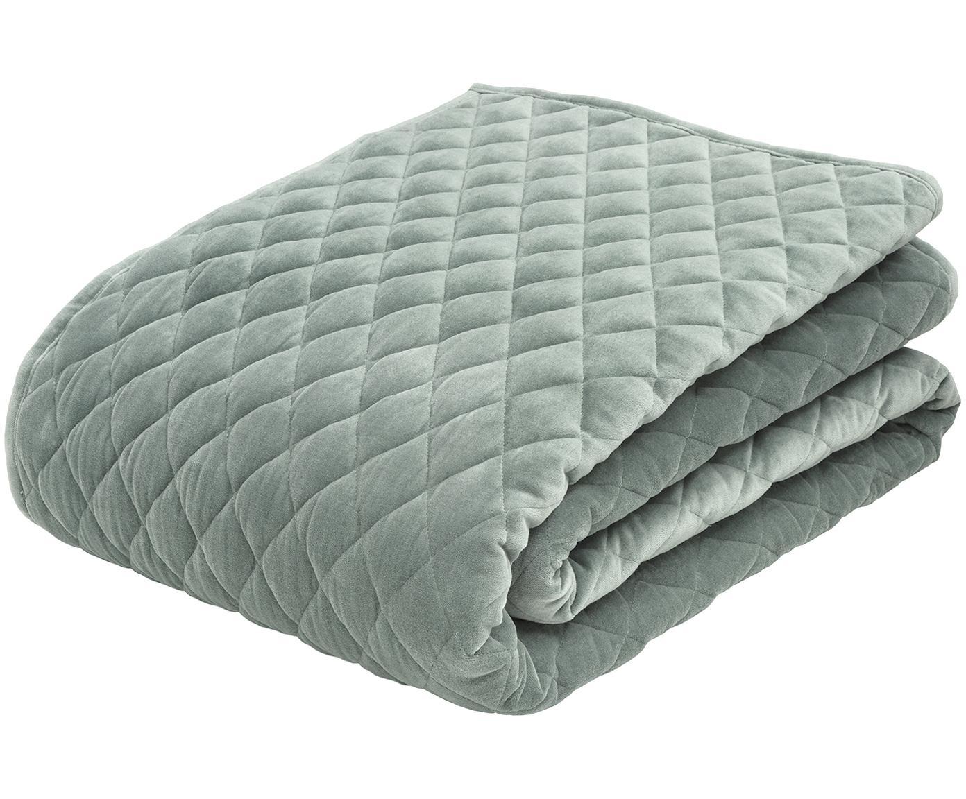 Colcha de terciopelo Cosima, Parte superior: 100%terciopelo de algodó, Reverso: 100%algodón, Verde salvia, An 160 x L 220 cm