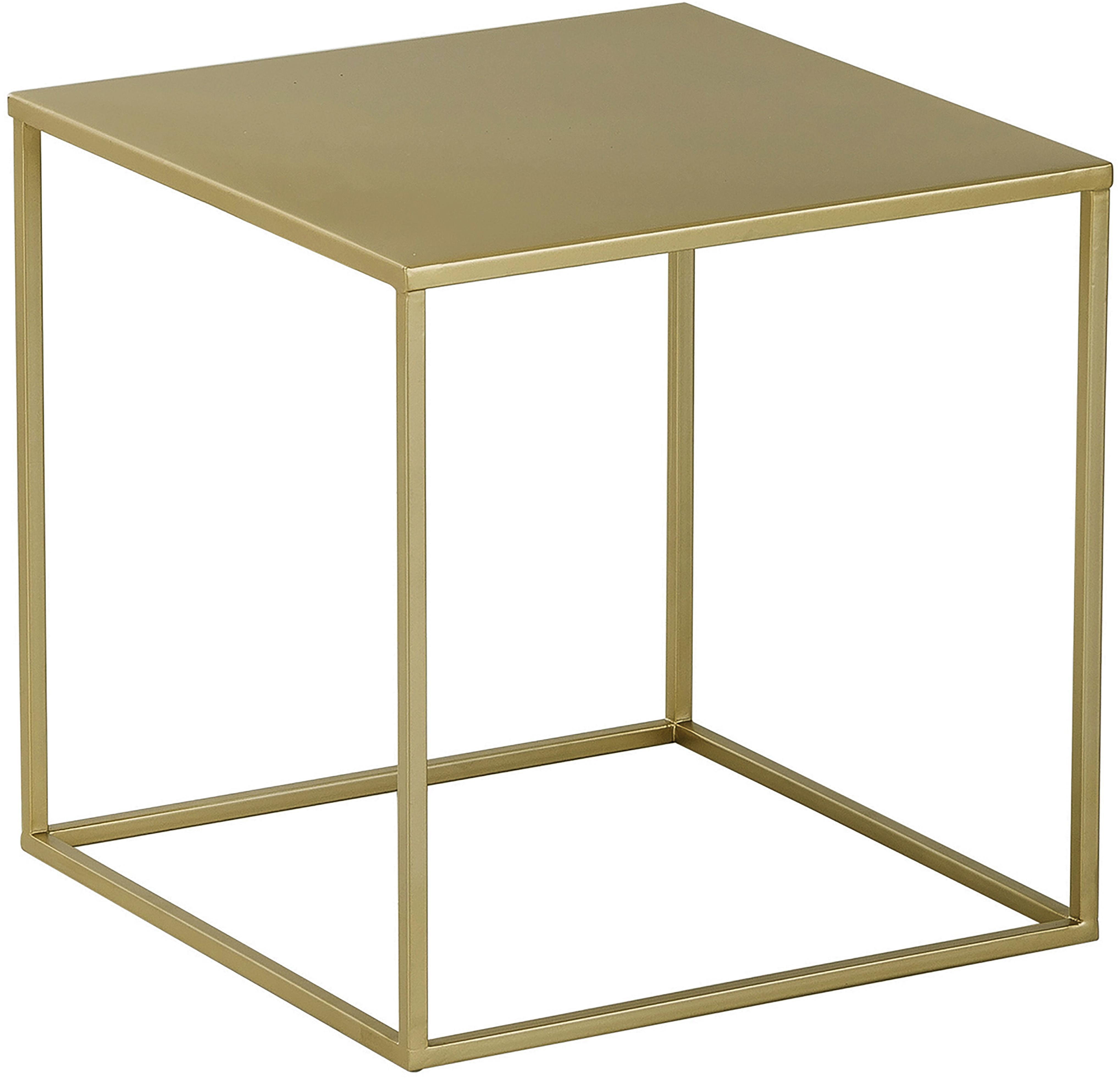 Beistelltisch Stina aus Metall, Metall, pulverbeschichtet, Goldfarben, matt, 45 x 45 cm