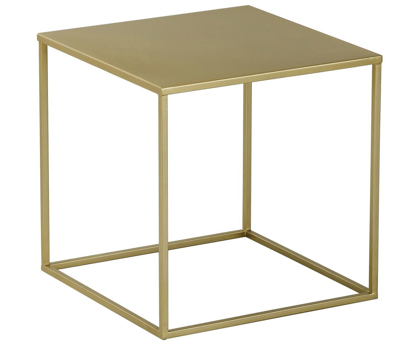 Stolik pomocniczy z metalu Stina, Metal malowany proszkowo, Odcienie złotego, matowy, S 45 x W 45 cm