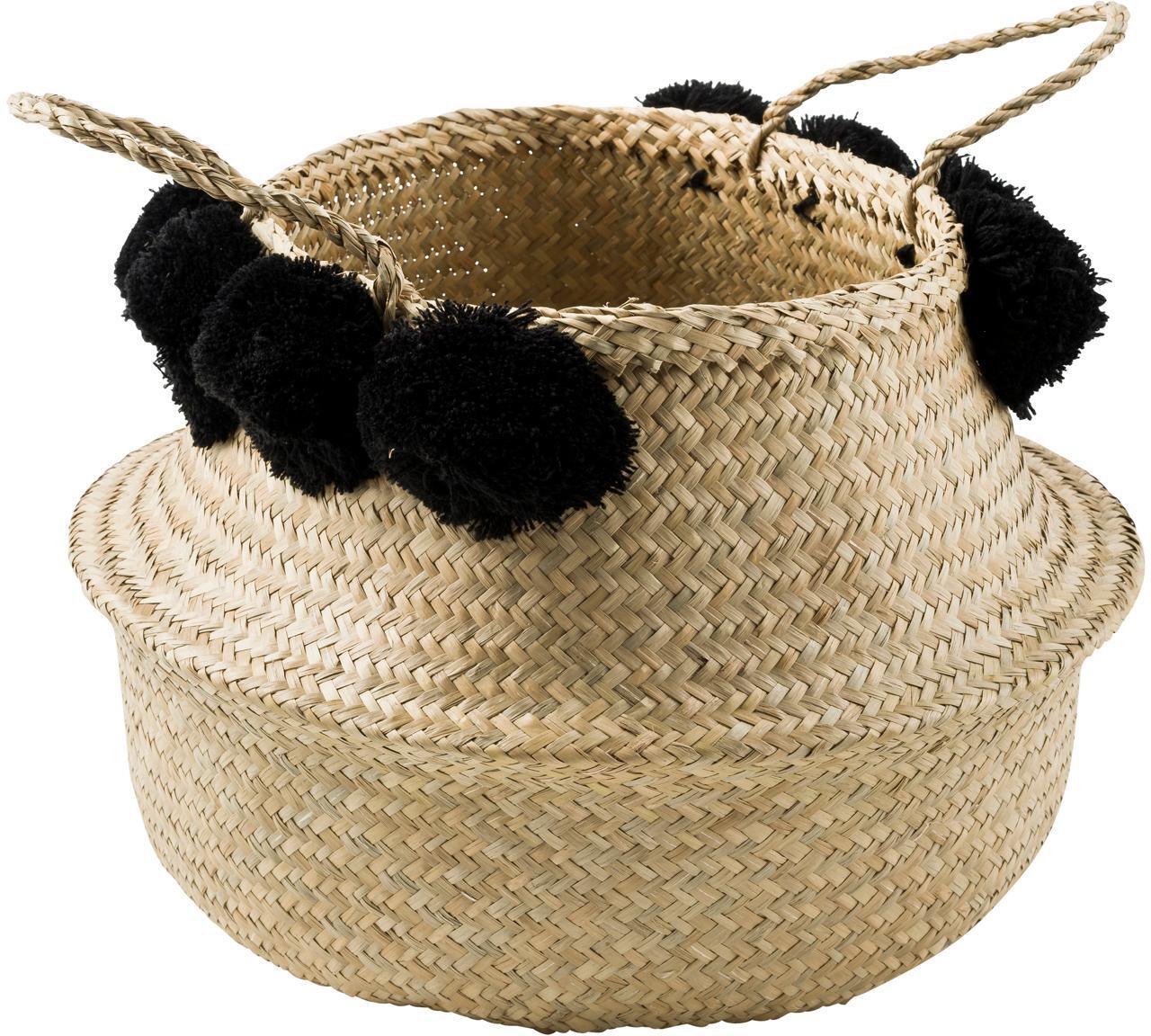 Handgefertigter Aufbewahrungskorb Calypso, Seegras, Wolle, Seegras, Schwarz, Ø 35 x H 31 cm