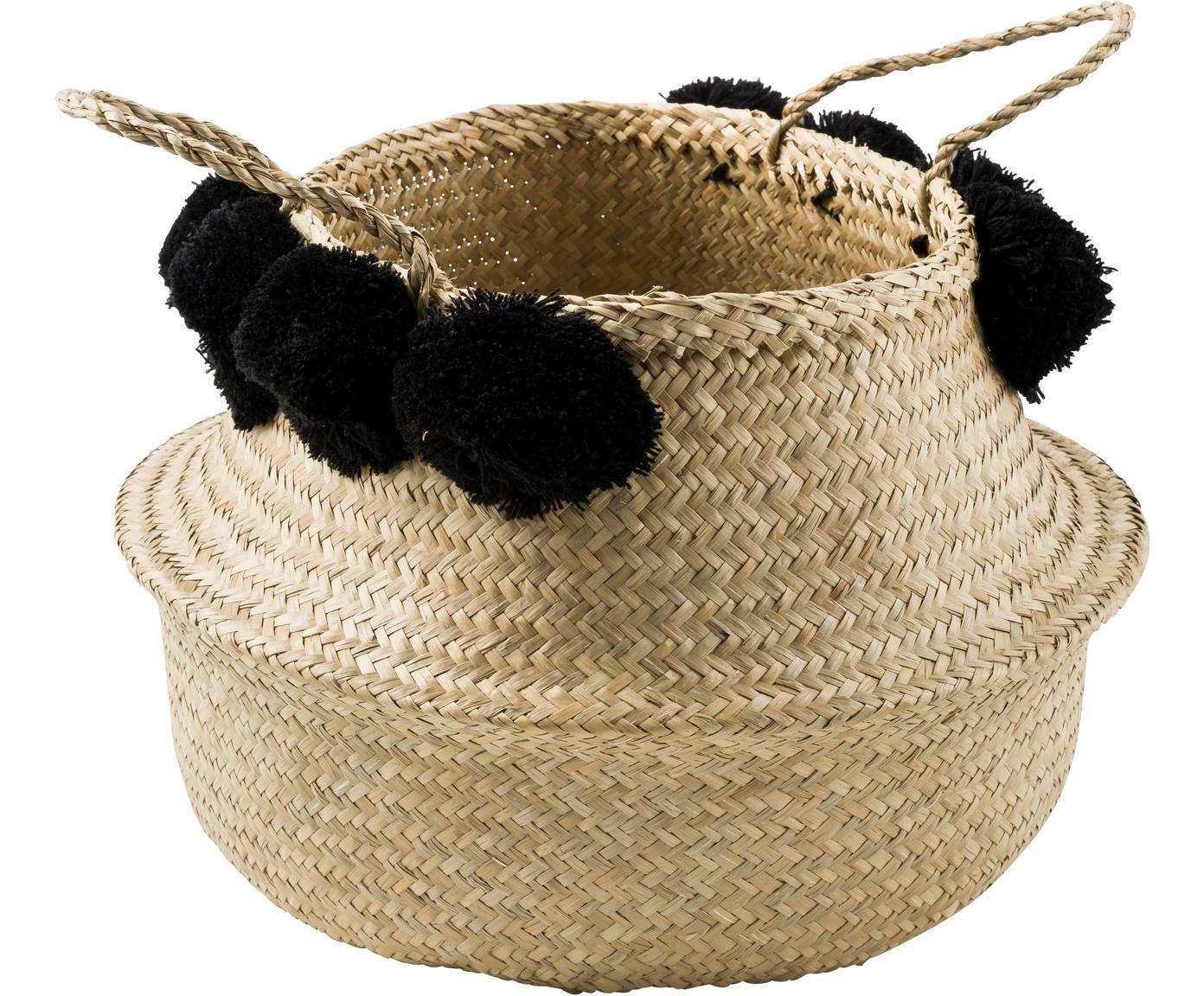 Ręcznie wykonany kosz do przechowywania Calypso, Trawa morska, wełna, Trawa morska, czarny, Ø 35 x W 31 cm