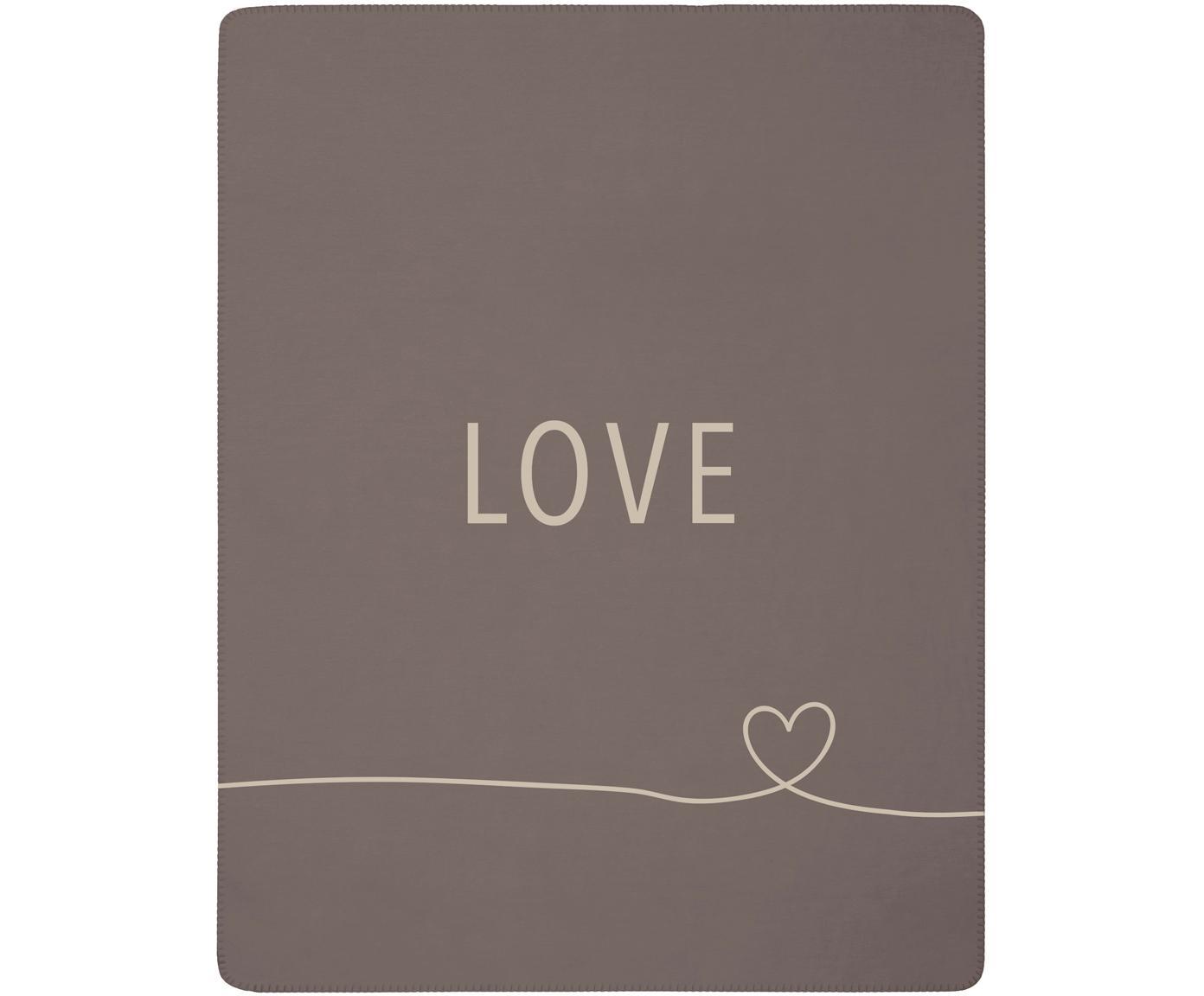Flauschiges Fleece-Plaid Love mit Aufschrift und Motiv, 58%Baumwolle, 32%Polyacryl, 10%Polyester, Taupe, Beige, 150 x 200 cm