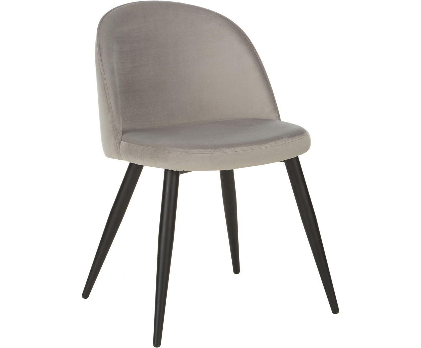 Moderne fluwelen stoelen Amy, 2 stuks, Bekleding: fluweel (polyester), Poten: gepoedercoat metaal, Grijs, B 51 x D 55 cm