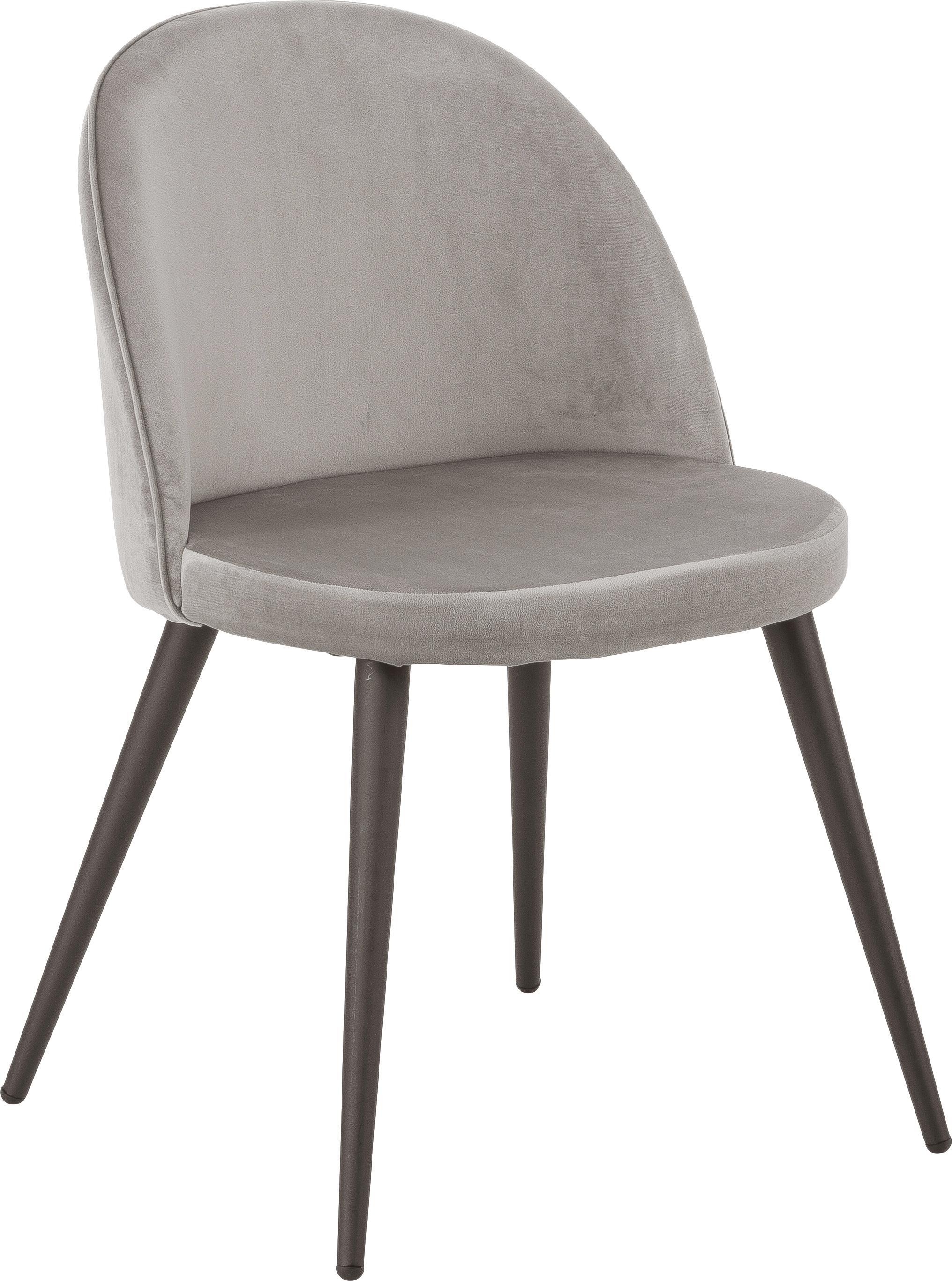Krzesło tapicerowane z aksamitu Amy, 2 szt., Tapicerka: aksamit (poliester) 2500, Nogi: metal malowany proszkowo, Szary, S 51 x G 55 cm