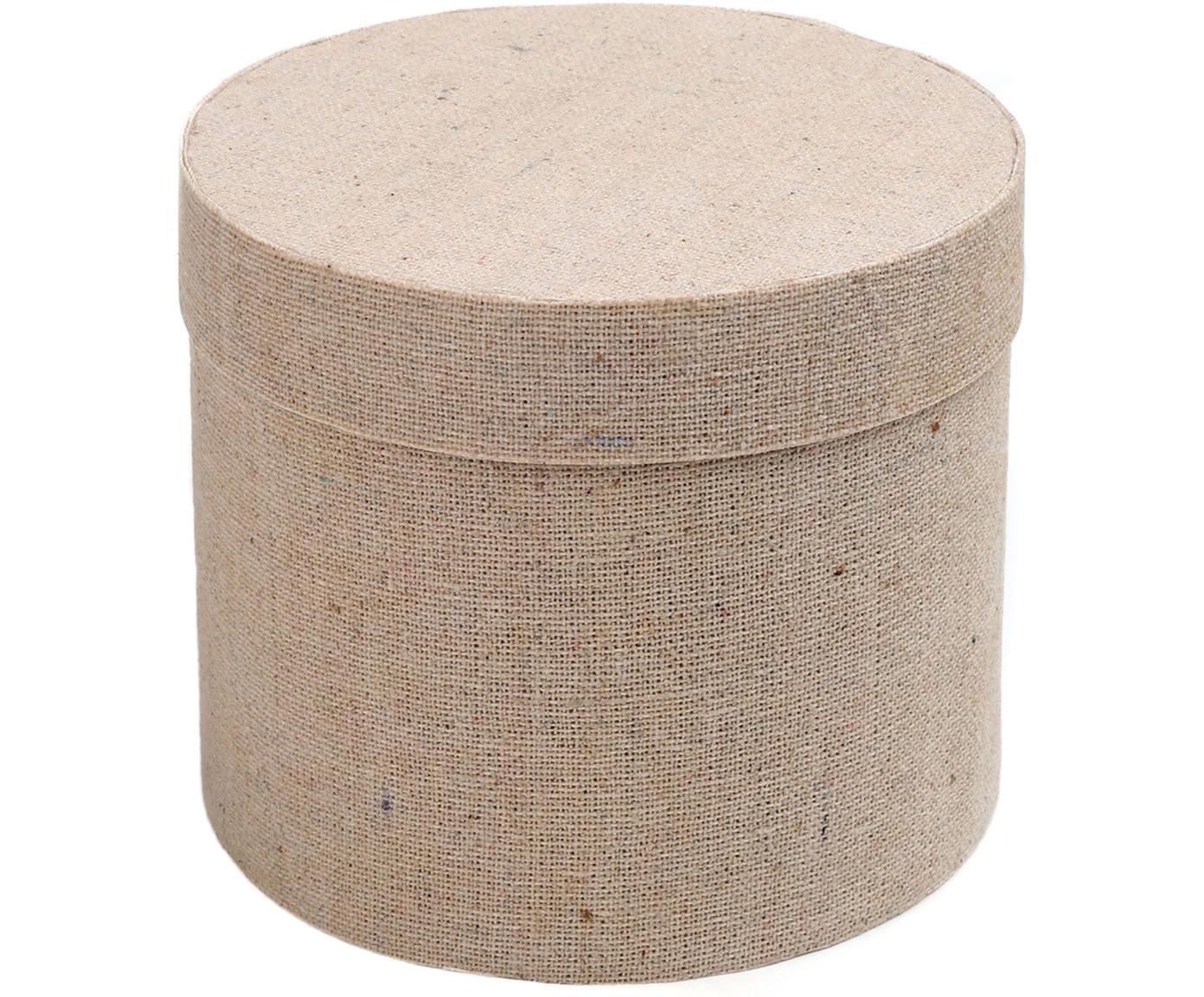 Geschenkdozen Round, 6 stuks, Katoen, Beige, Ø 5 cm