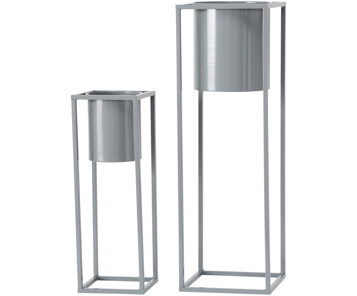 Set 2 portavasi in metallo Centro, Metallo, Grigio, Diverse dimensioni