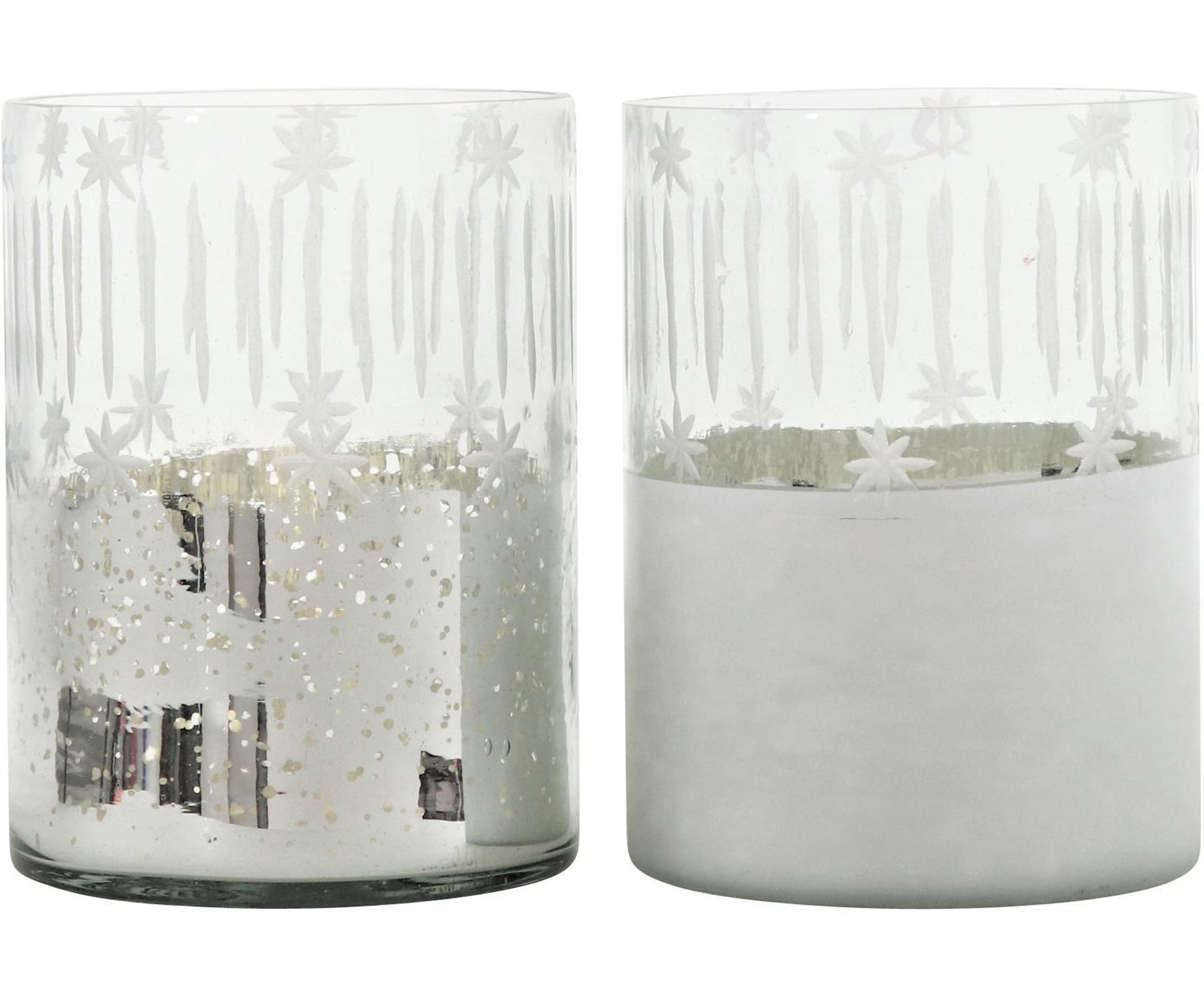 Set 2 portacandele Lira, Vetro, Argento trasparente, Ø 12 x Alt. 17 cm