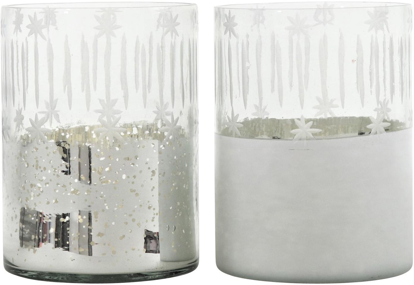 Windlichter-Set Lira, 2-tlg., Glas, Silberfarben, Transparent, Ø 12 x H 17 cm