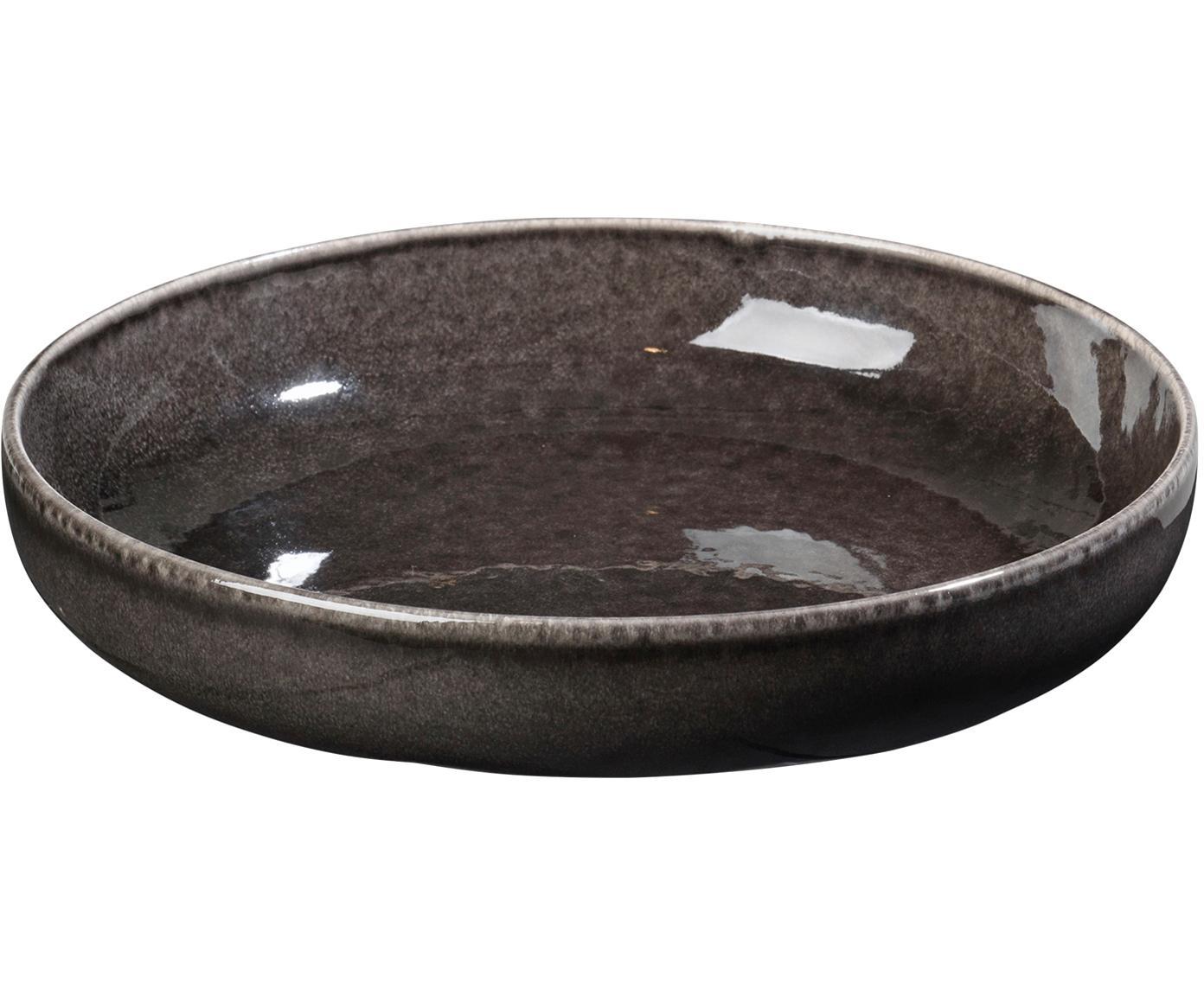 Handgemachte Schalen Nordic Coal, 4 Stück, Steingut, Bräunlich, Ø 22 x H 5 cm