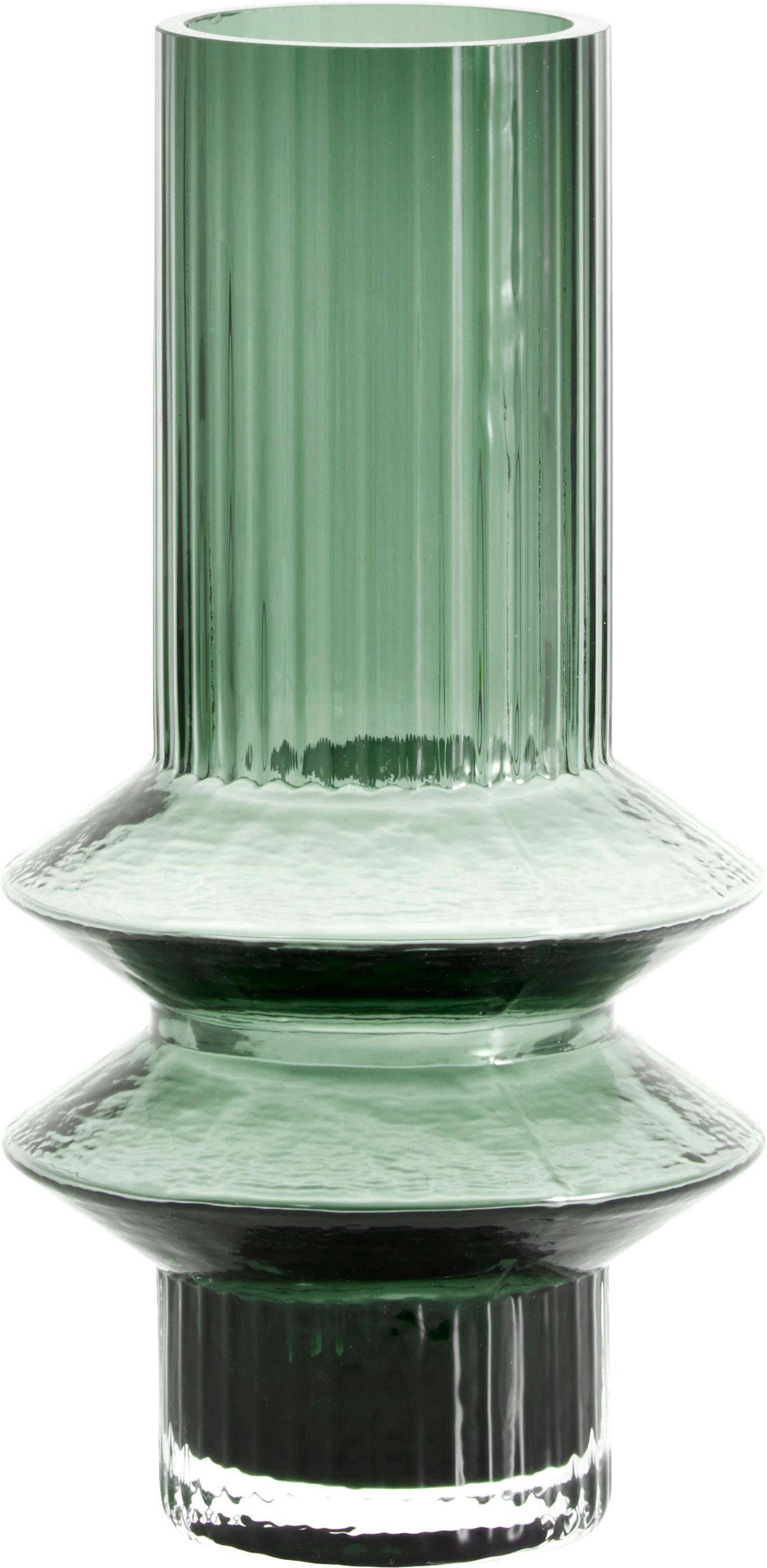Vaso in vetro Rilla, Vetro, Verde, Ø 10 x Alt. 21 cm