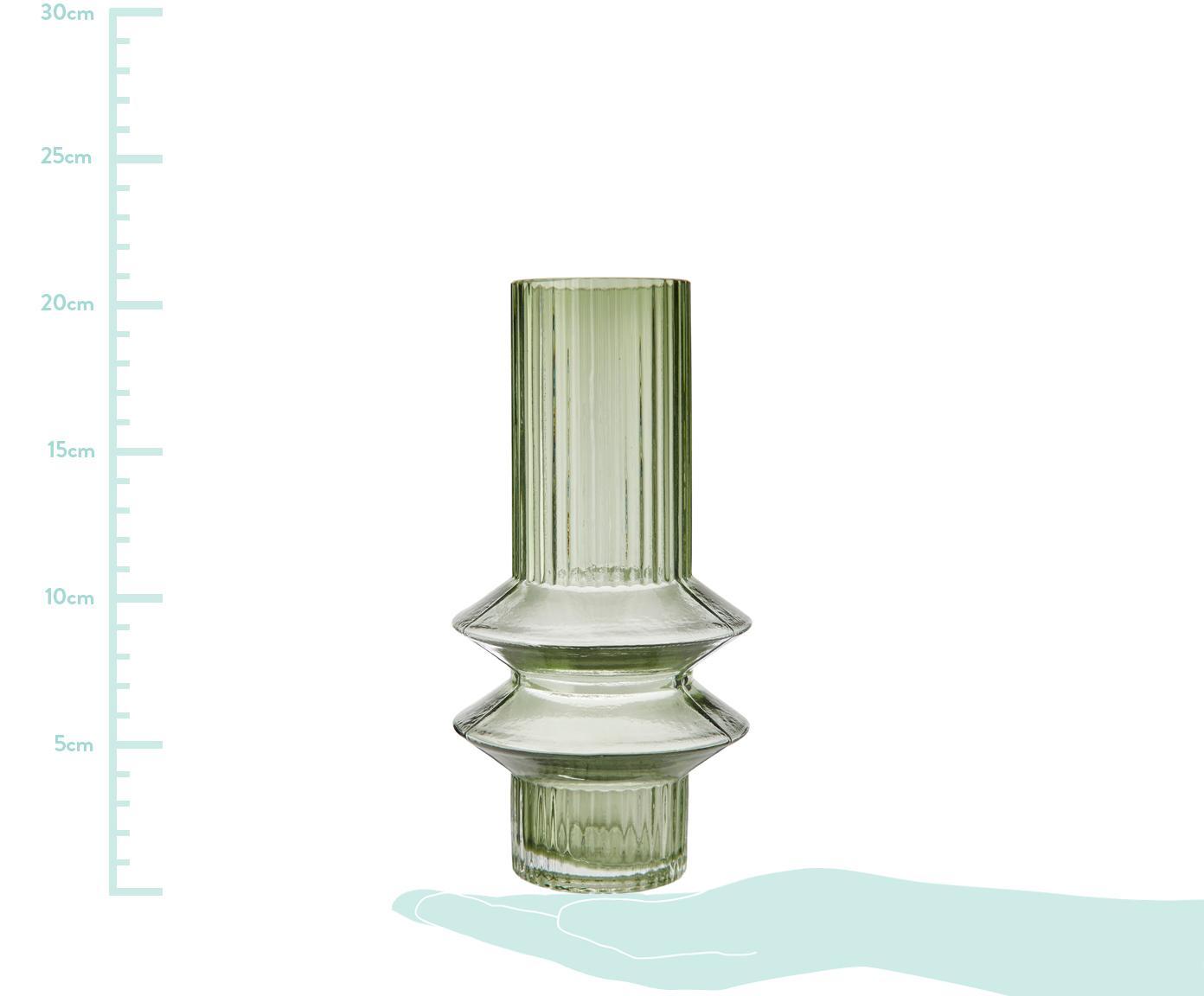 Vaso in vetro trasparente con riflessi verdi Rilla, Vetro, Verde, Ø 10 x Alt. 21 cm