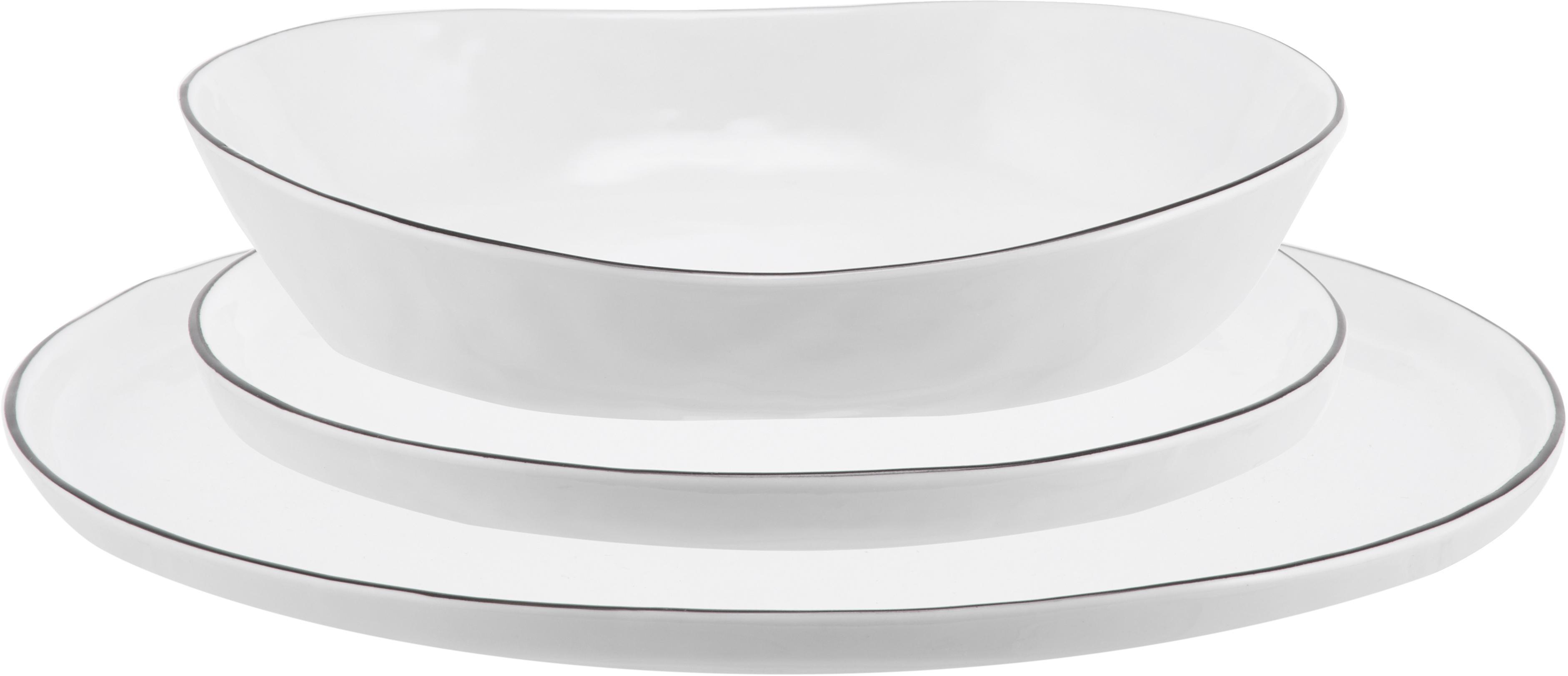 Set piatti fatti a mano con bordo nero Salt, set di 12, Porcellana, Bianco latteo, nero, Diverse dimensioni
