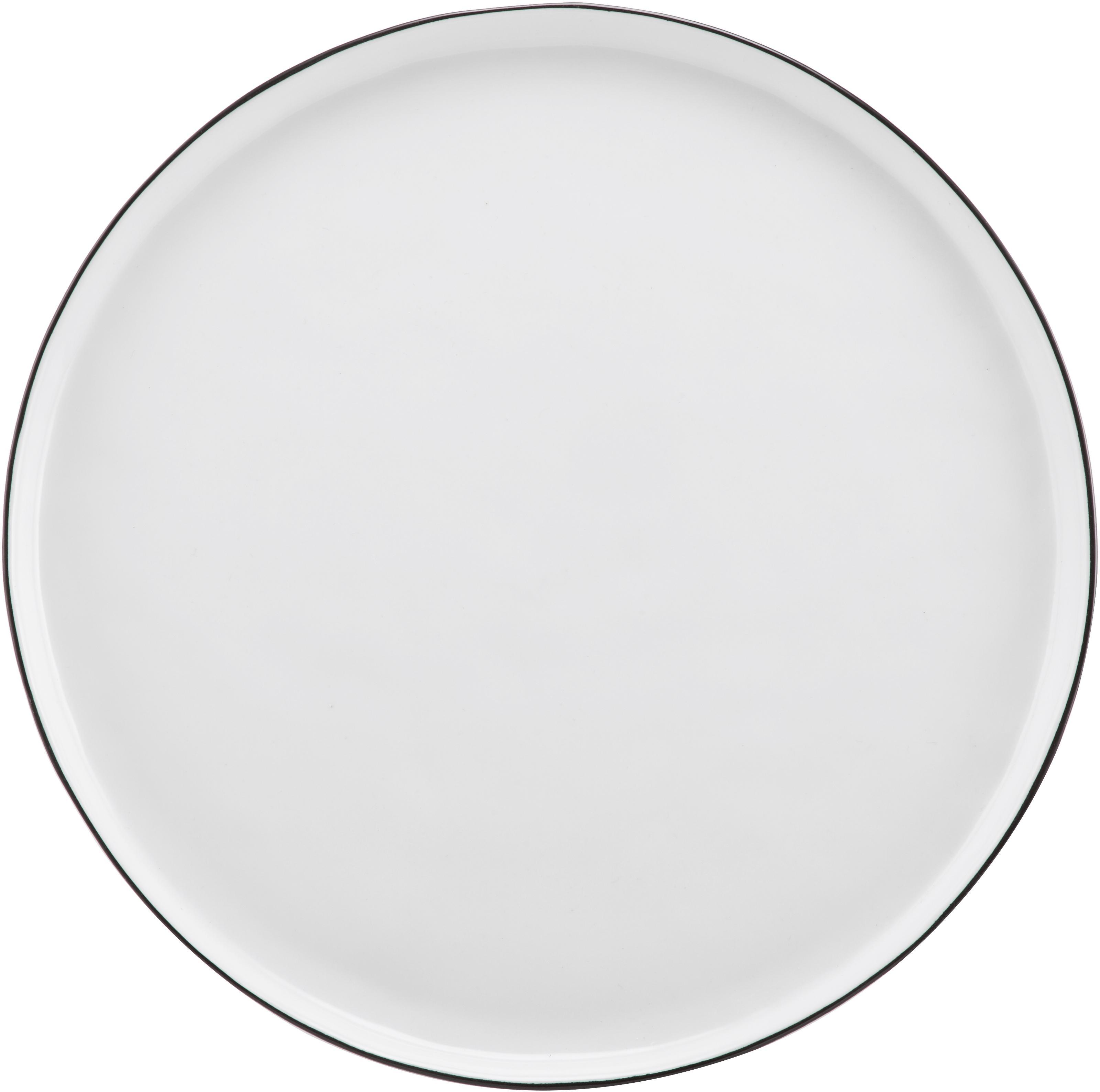Vajilla artesanal Salt, 4comensales (12pzas.), Porcelana, Blanco crudo, negro, Tamaños diferentes