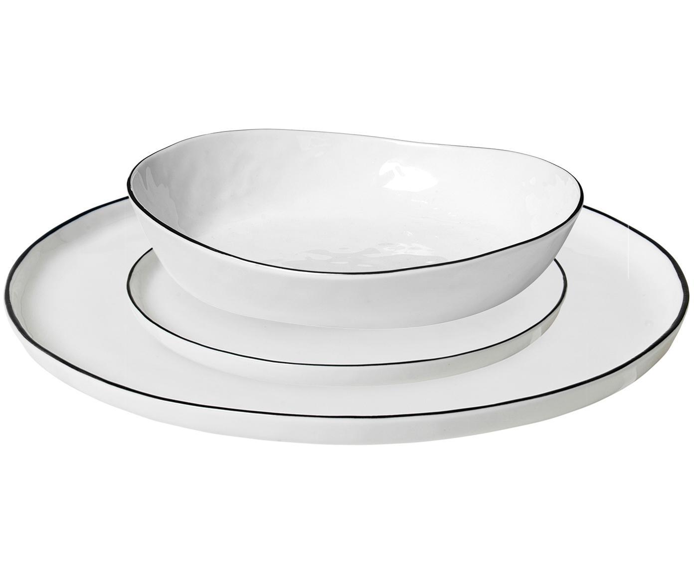 Handgemachtes Geschirr-Set Salt, 4 Personen (12-tlg.), Porzellan, Gebrochenes Weiss, Schwarz, Verschiedene Grössen