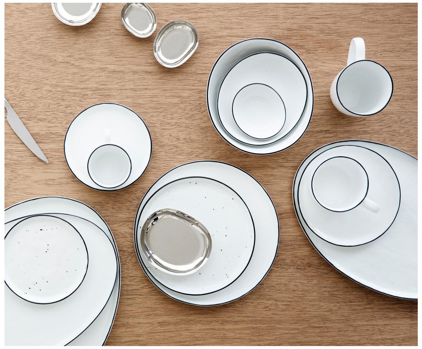 Ręcznie wykonany komplet naczyń Salt, 12 elem., Porcelana, Złamana biel, czarny, Różne rozmiary