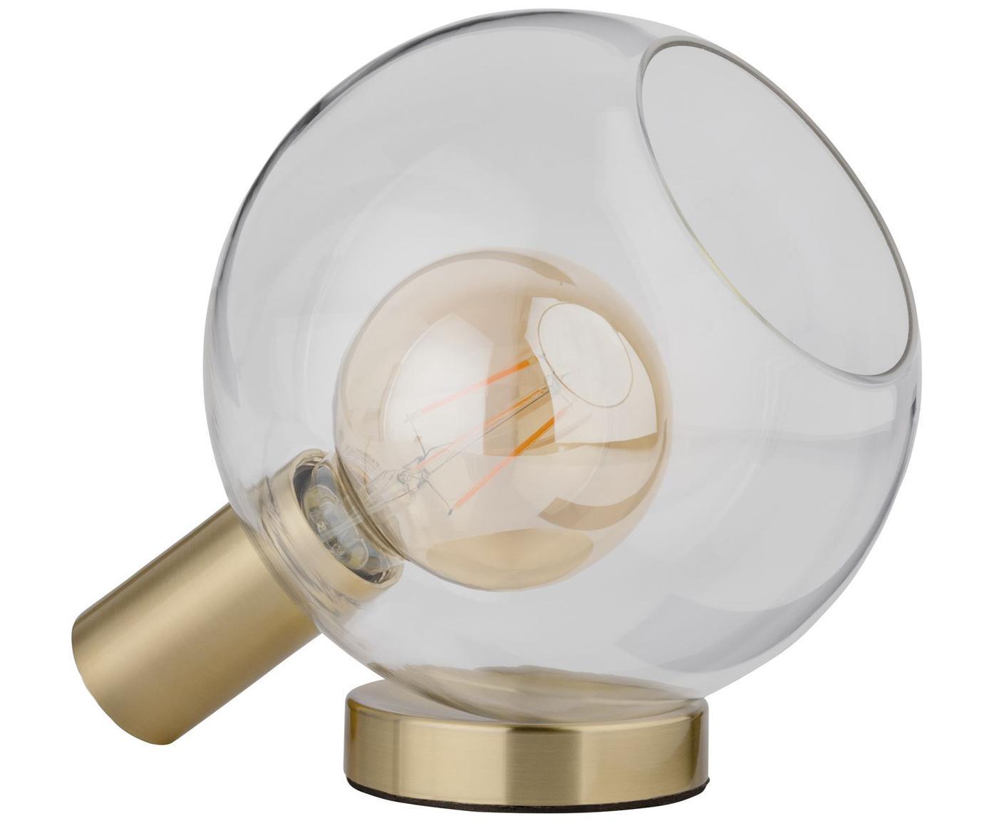 Tafellamp Esben van glas, Lampenkap: glas, Lampvoet: geborsteld messing, Messingkleurig, transparant, 25 x 22 cm