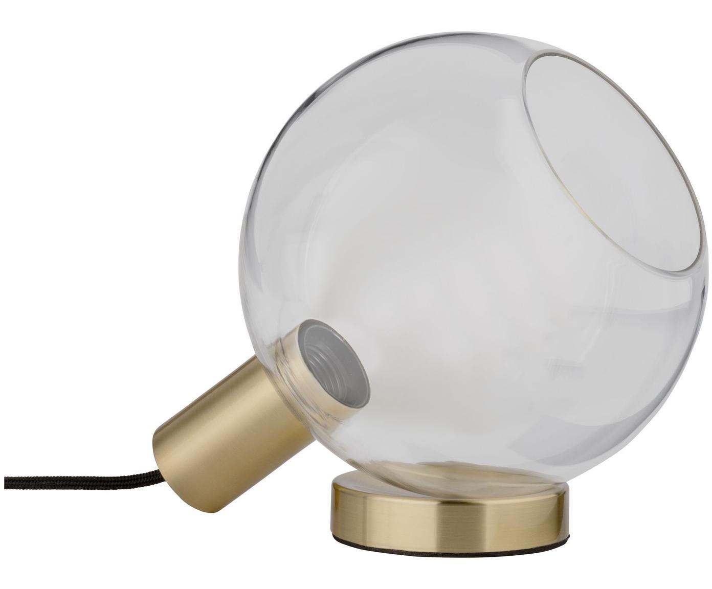Tischlampe Esben aus Glas, Lampenschirm: Glas, Lampenfuß: Messing, gebürstet, Messingfarben, Transparent, 25 x 22 cm