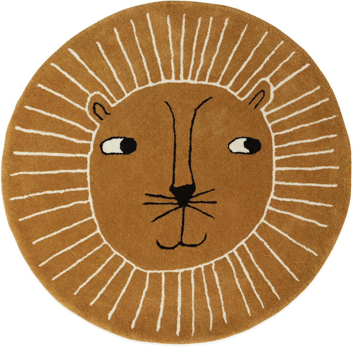 Wollteppich Lion, 80% Wolle, 20% Baumwolle, Karamellbraun, Schwarz, Weiss, Ø 95 cm