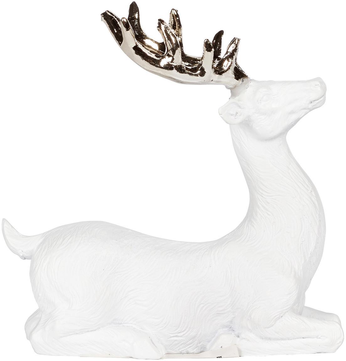 Handgemaakt decoratief object Deer, Polyresin, Wit, goudkleurig, 9 x 9 cm