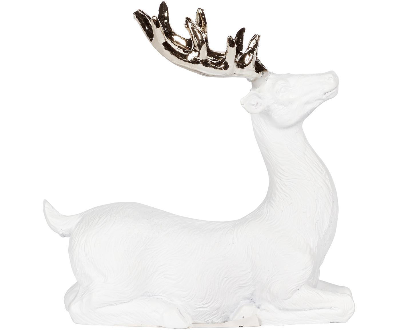 Figura decorativa artesanal Deer, Poliresina, Blanco, dorado, An 9 x Al 9 cm