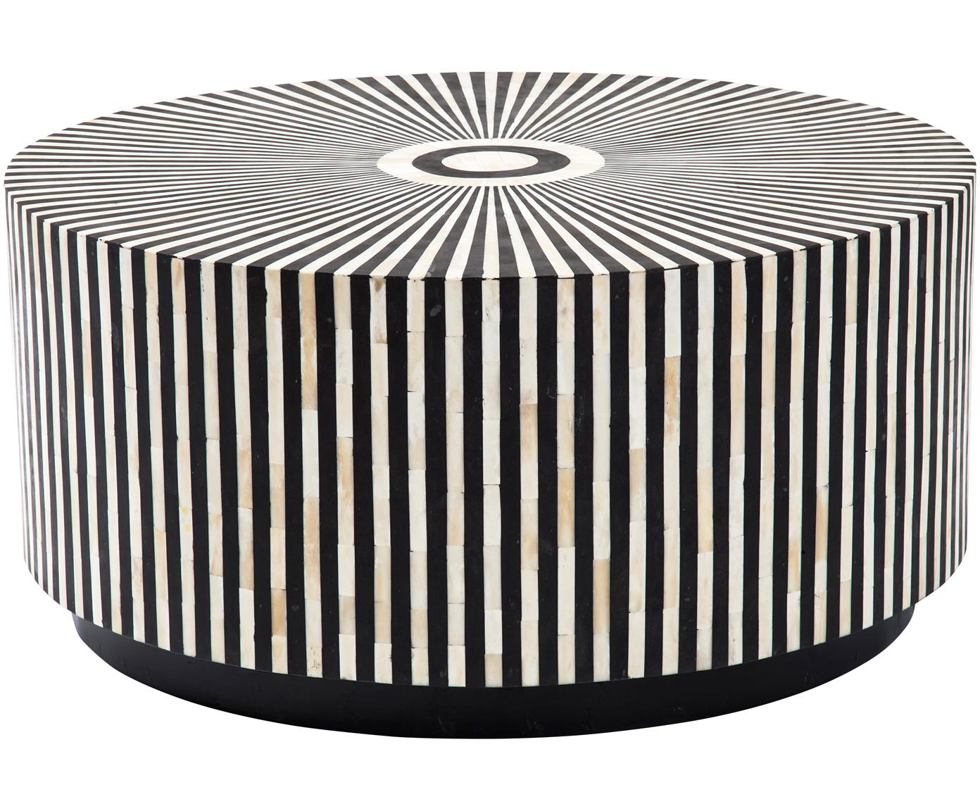 Ausgefallener Couchtisch Electra, Korpus: Holzfaserplatte, Oberfläche: Kamelknochen, Schwarz, Weiß, Ø 75 x H 35 cm
