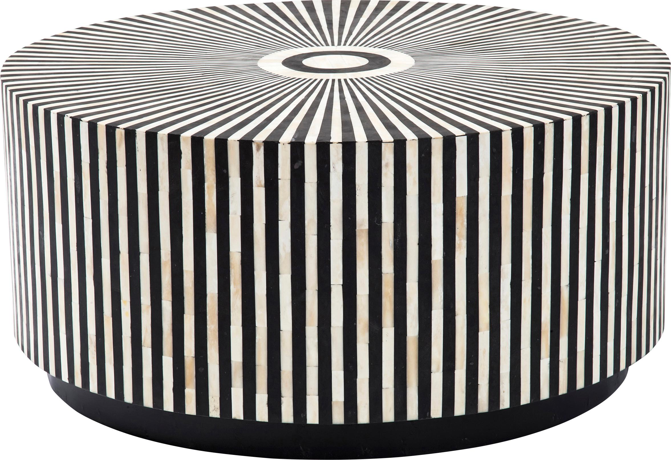 Tavolino da salotto di lusso Electra, Superficie: ossa di cammello, Nero, bianco, Ø 75 x Alt. 35 cm