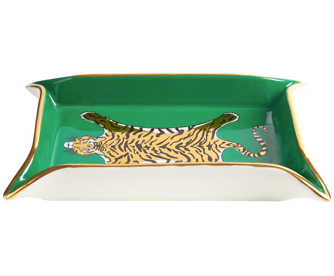 Ciotola Tiger, Porcellana, accenti dorati, Interno: verde, oro, beige<br>Esterno: bianco, L 18 x P 13 cm