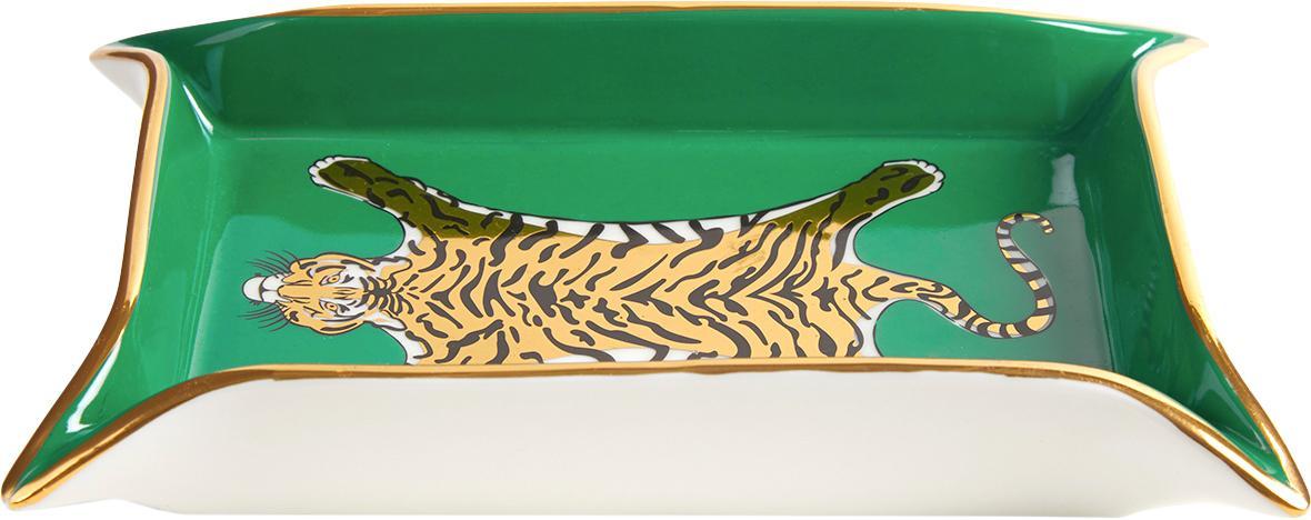 Designer-Schale Tiger, vergoldet, Porzellan, vergoldete Akzente, Innen: Grün, Gold, Beigetöne<br>Außen: Weiß, B 18 x T 13 cm