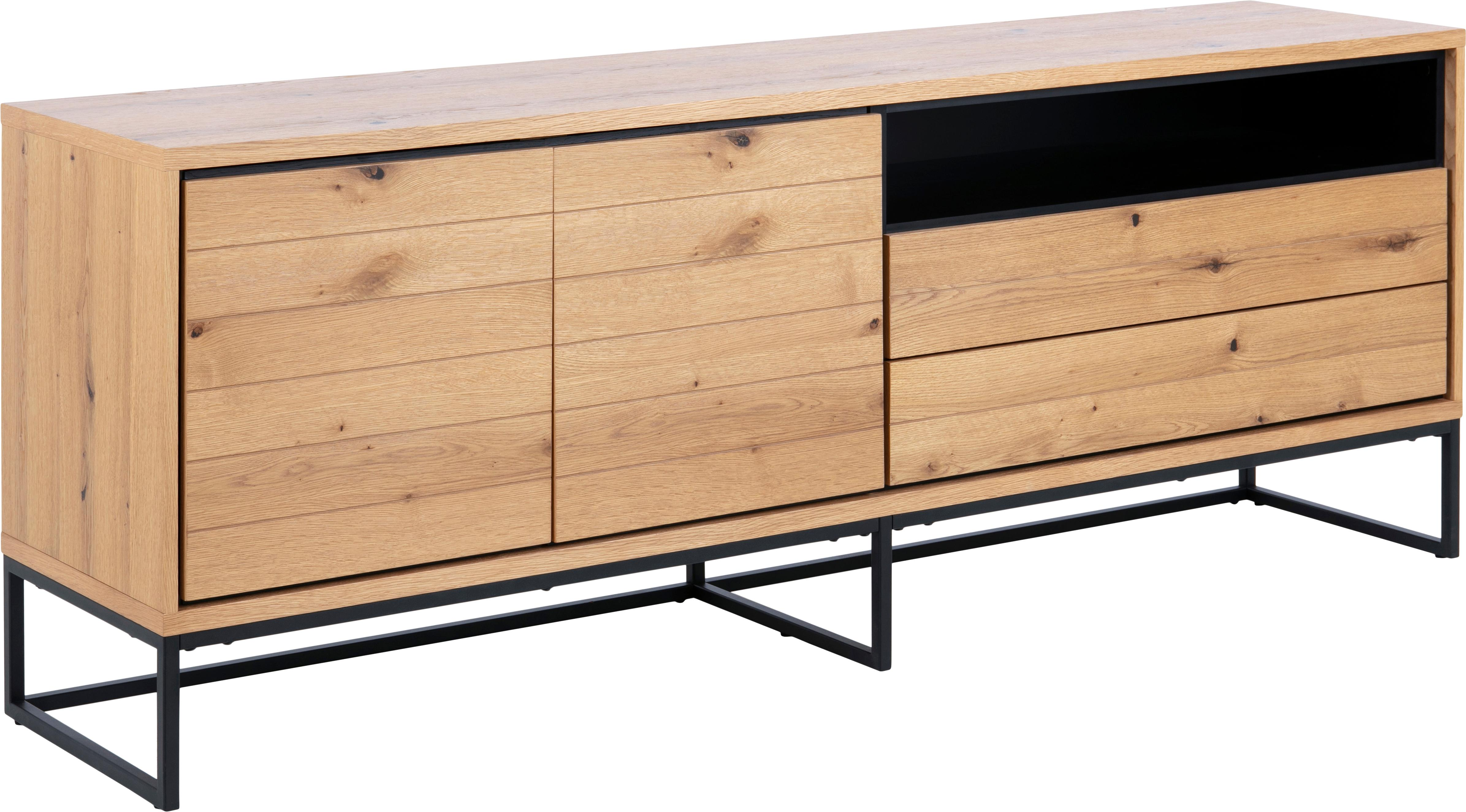 Sideboard Dalarna mit Eichenholzfurnier, Korpus: Mitteldichte Holzfaserpla, Füße: Metall, pulverbeschichtet, Wildeiche, Schwarz, 197 x 76 cm