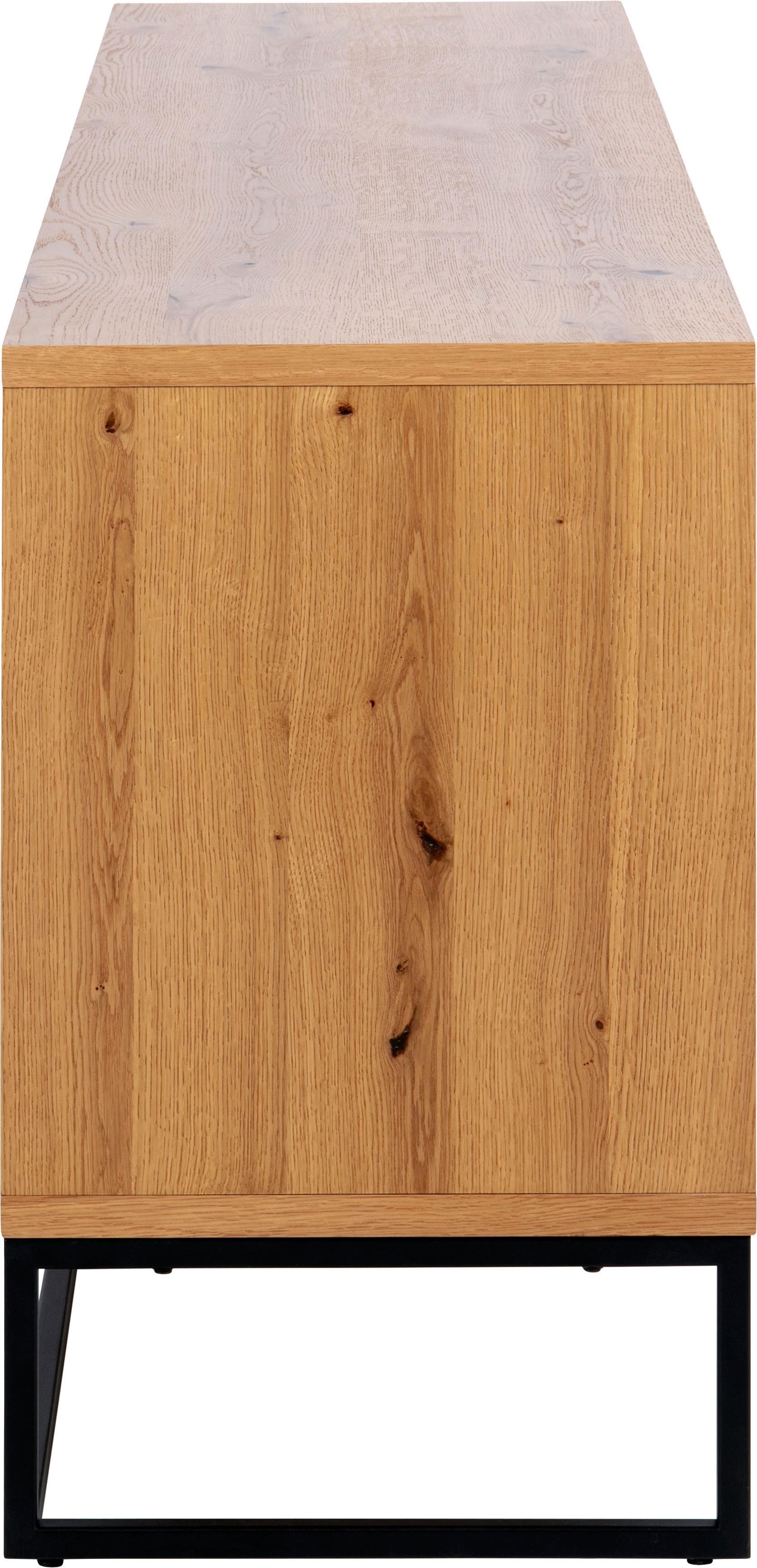 Skříňka s dubovou dýhou Dalarna, Divoký dub, černá