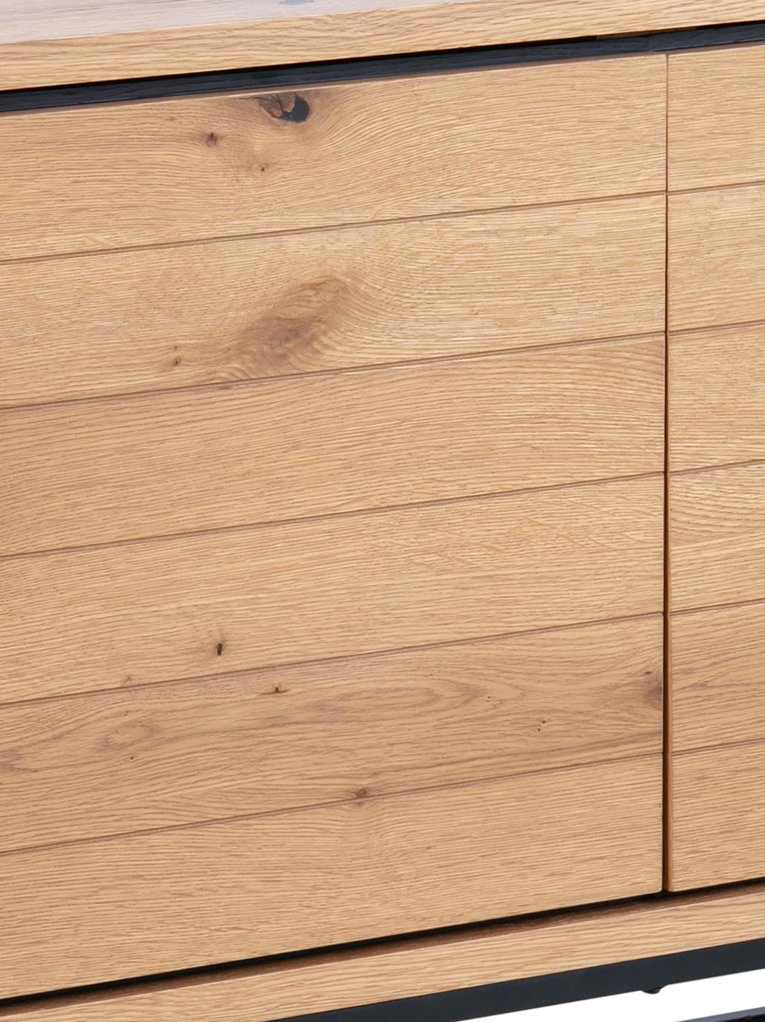 Credenza con finitura in quercia Dalarna, Piedini: metallo verniciato a polv, Quercia selvatica, nero, Larg. 197 x Alt. 76 cm