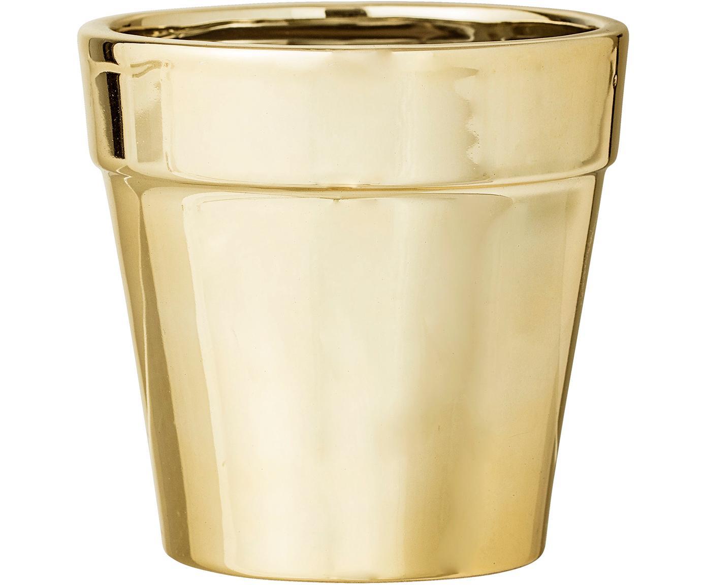 Osłonka na doniczkę Gladys, Kamionka, Odcienie złotego, Ø 10 x W 10 cm