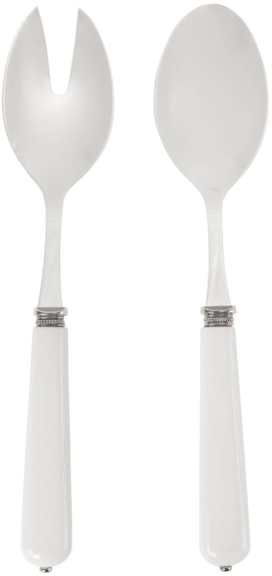 Posate per insalata con manico bianco Lucie, set di 2, Acciaio inossidabile, materiale sintetico, Acciaio, bianco, Lung. 24 cm