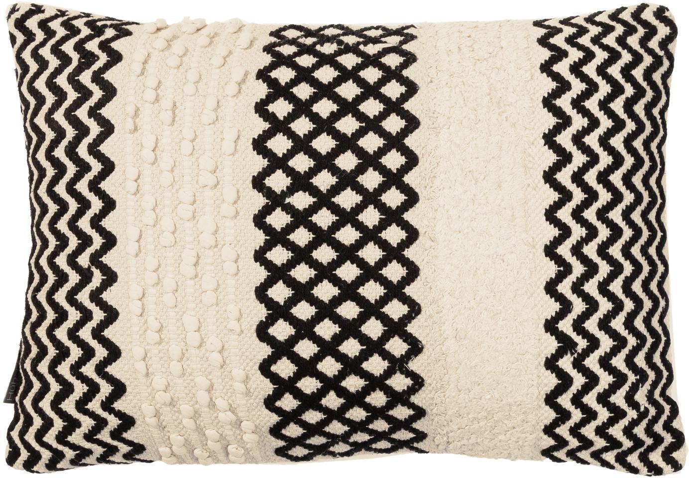 Federa Loa, Cotone, Color crema, nero, Larg. 40 x Lung. 60 cm